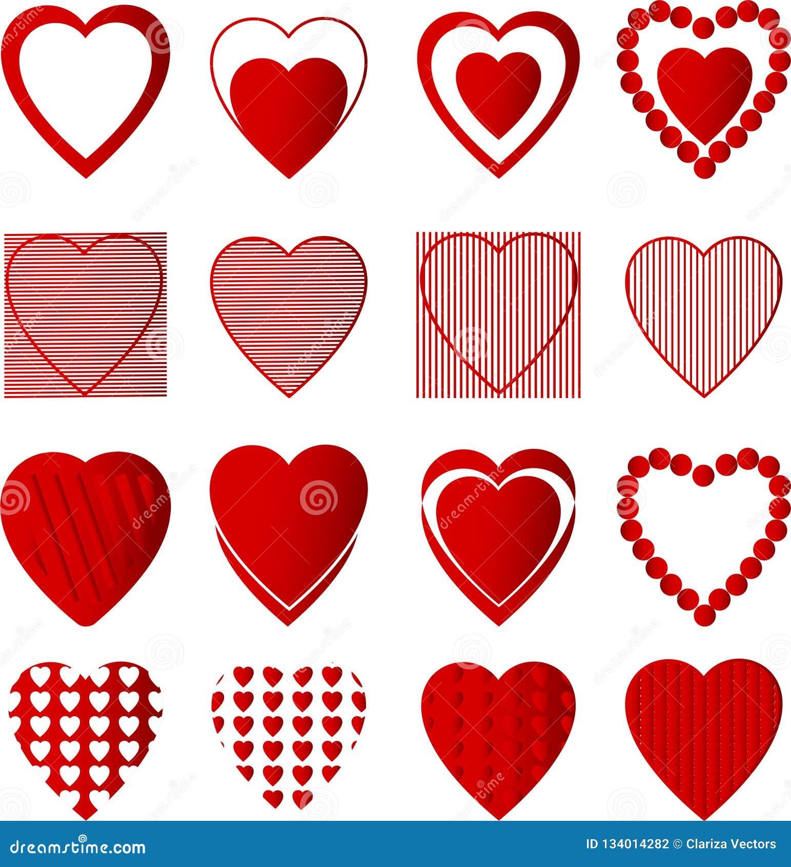 心脏红色集合在白色背景中