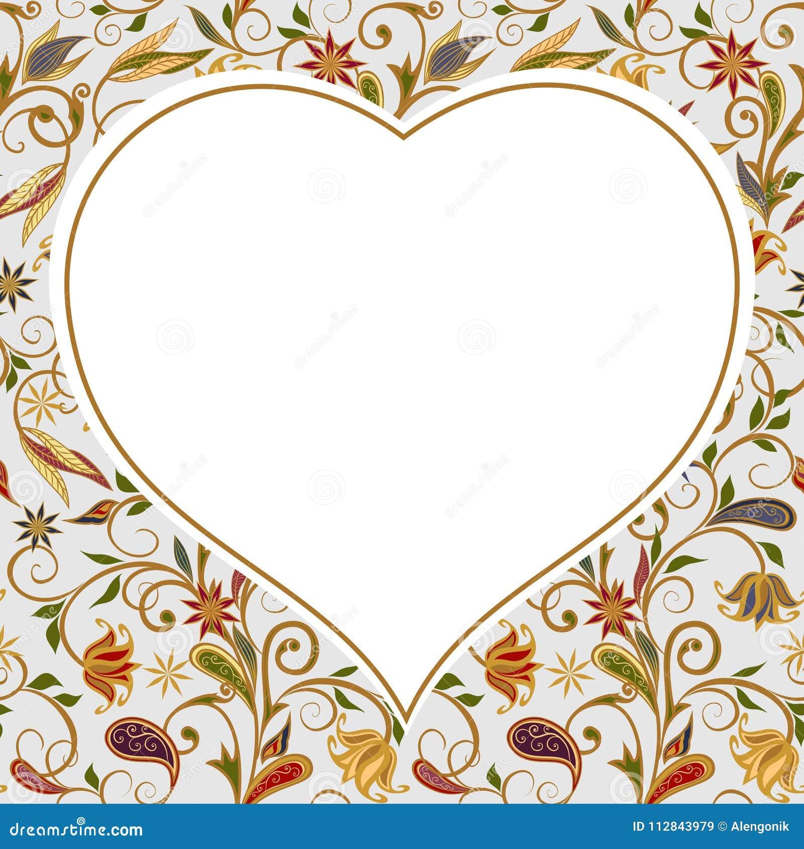 心脏背景与花卉样式的
