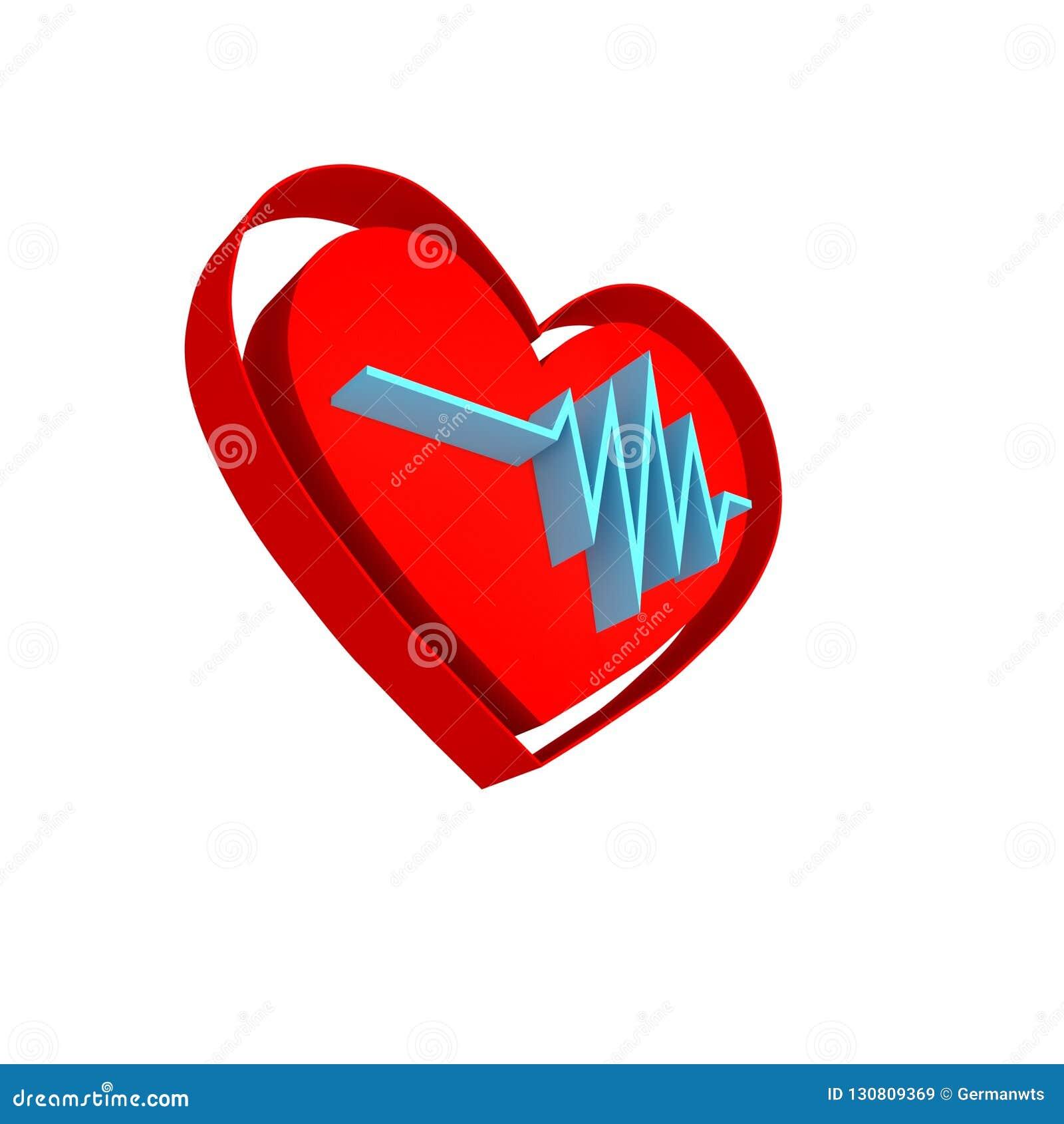 心脏节奏商标 脉冲simbol - 3D回报