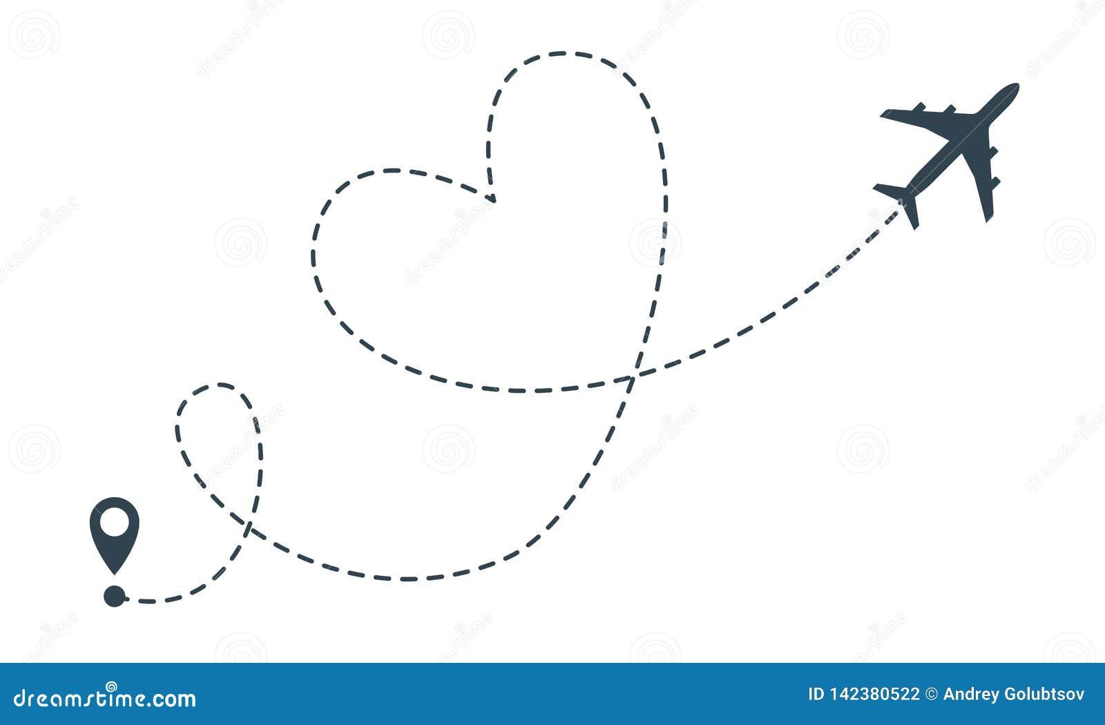 心脏飞机路线 传染媒介飞机心脏飞行地点别针、旅行和交付象