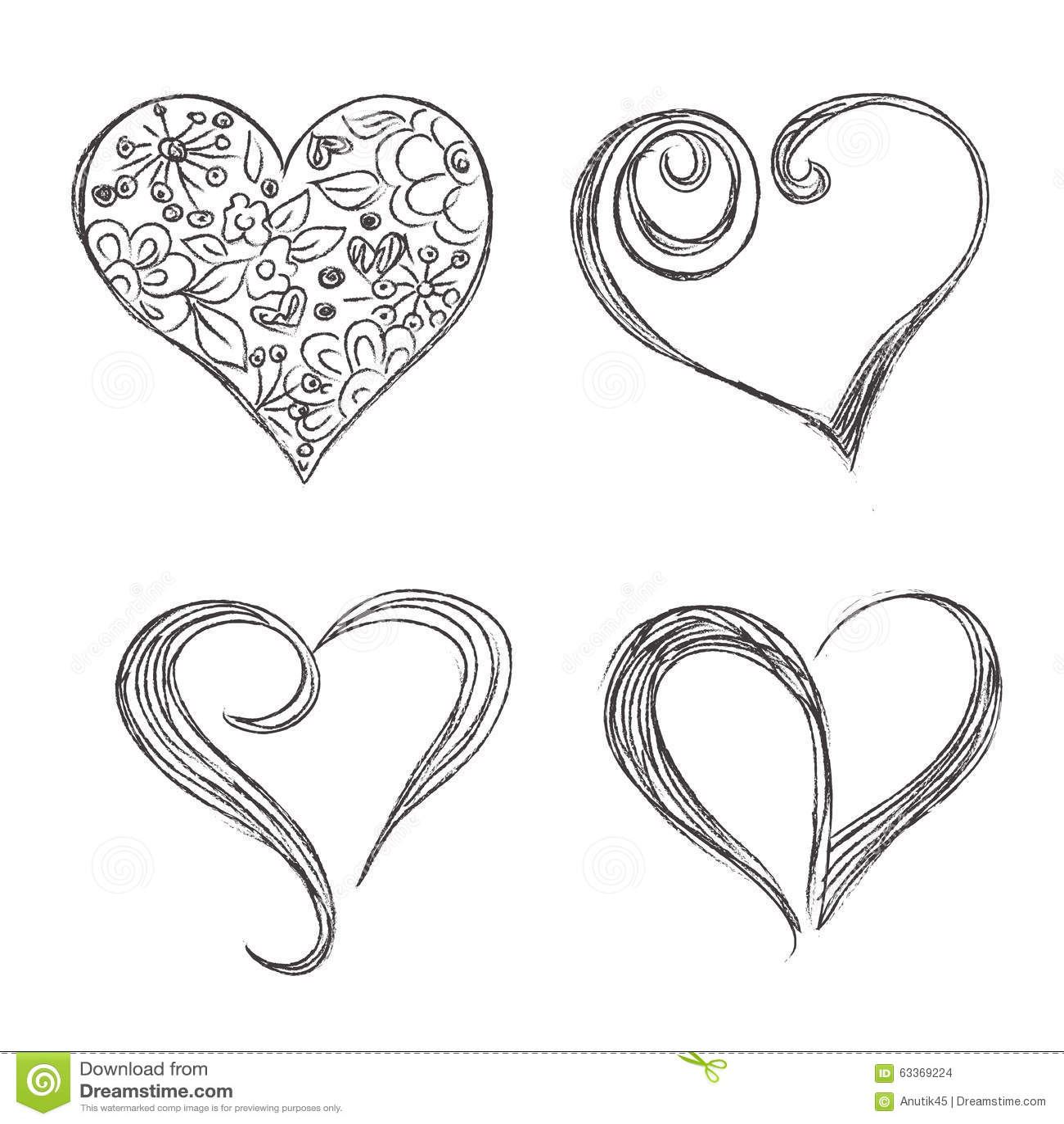心脏,集合,手,被画,剪影,传染媒介, illuatration图片