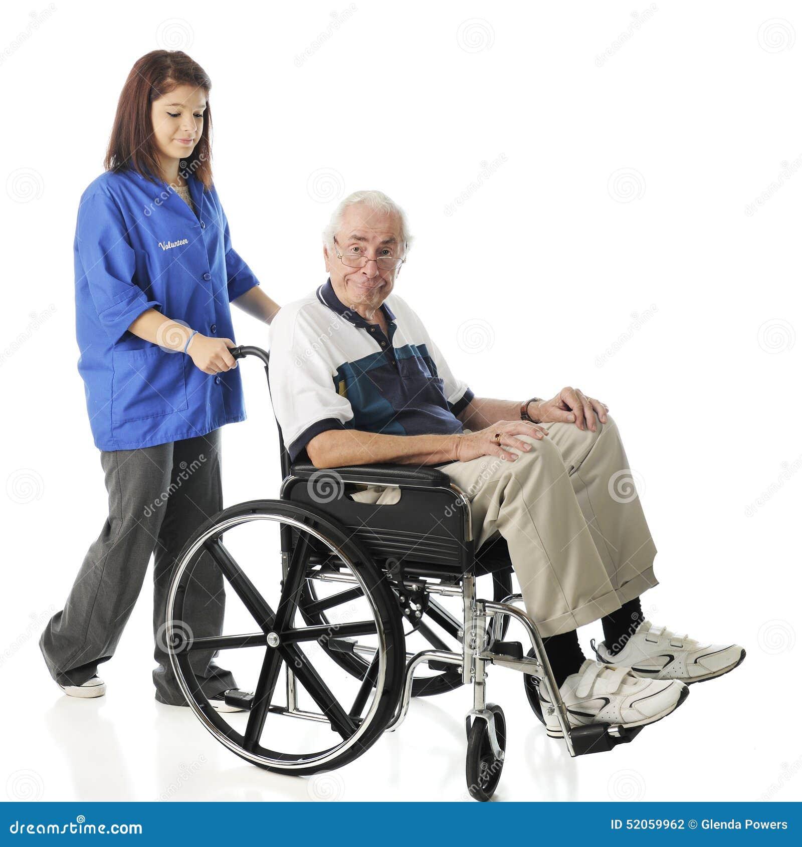 志愿与老人一起使用