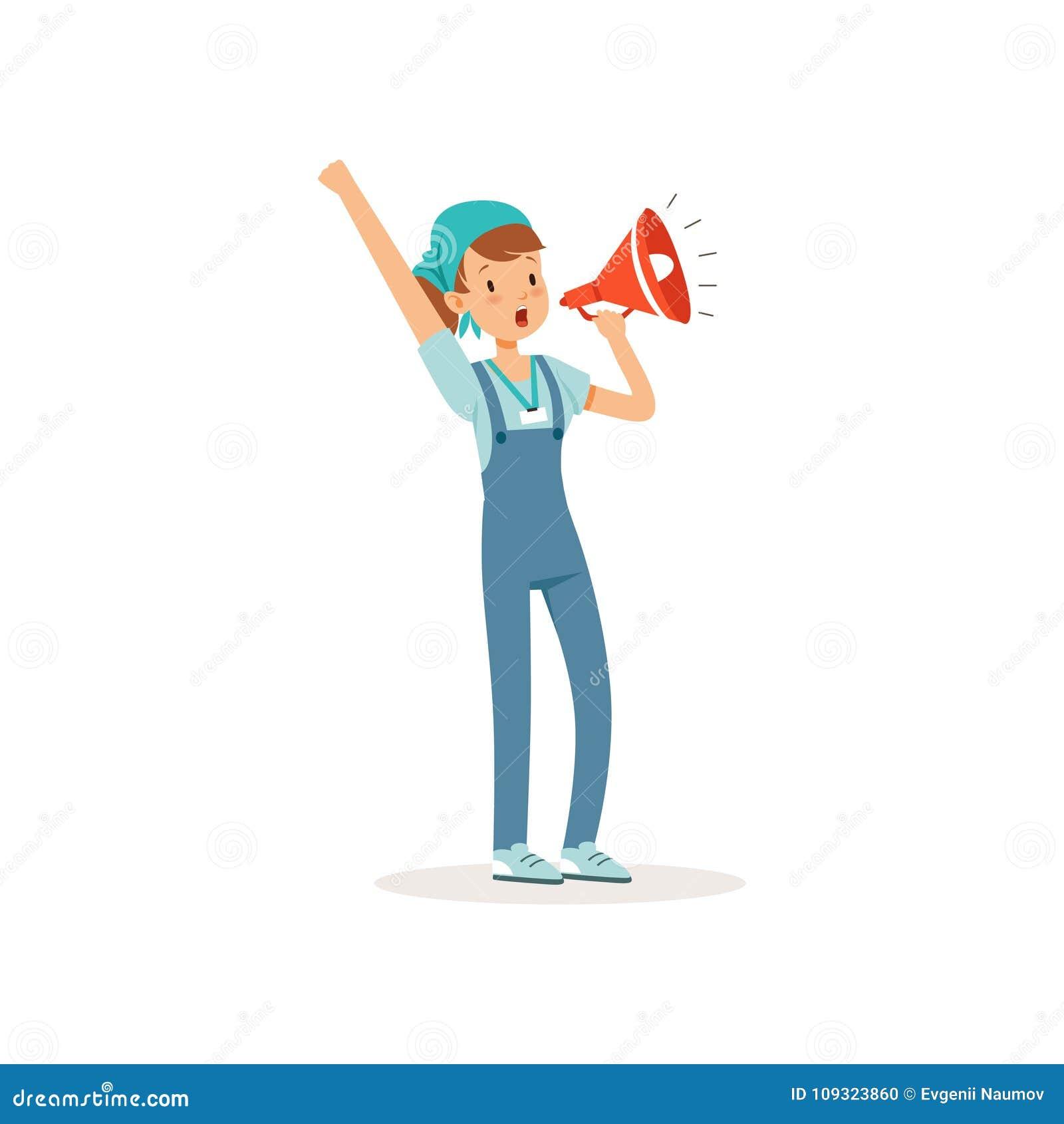 志愿女孩身分和大声尖叫在扩音机 动画片在蓝色T恤杉的少年字符,整体上运转