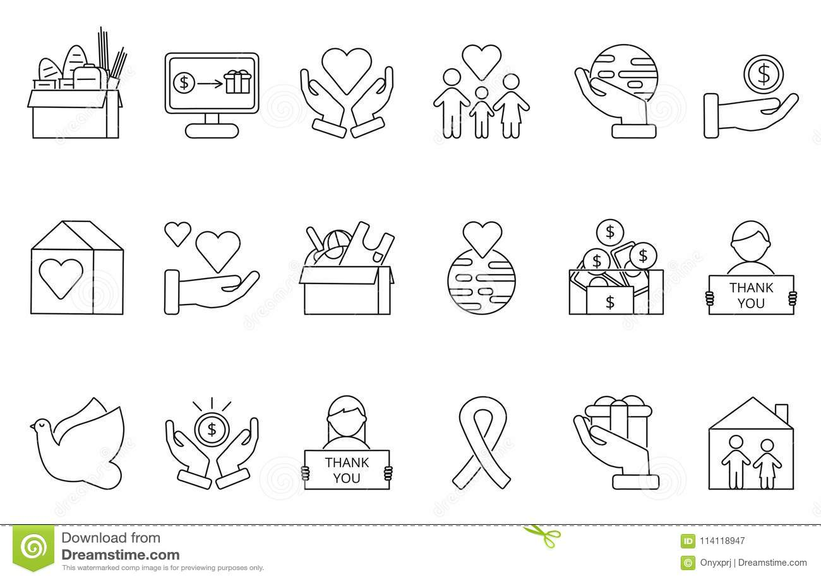 志愿者和慈善组织的标志 被设置的Monolines象