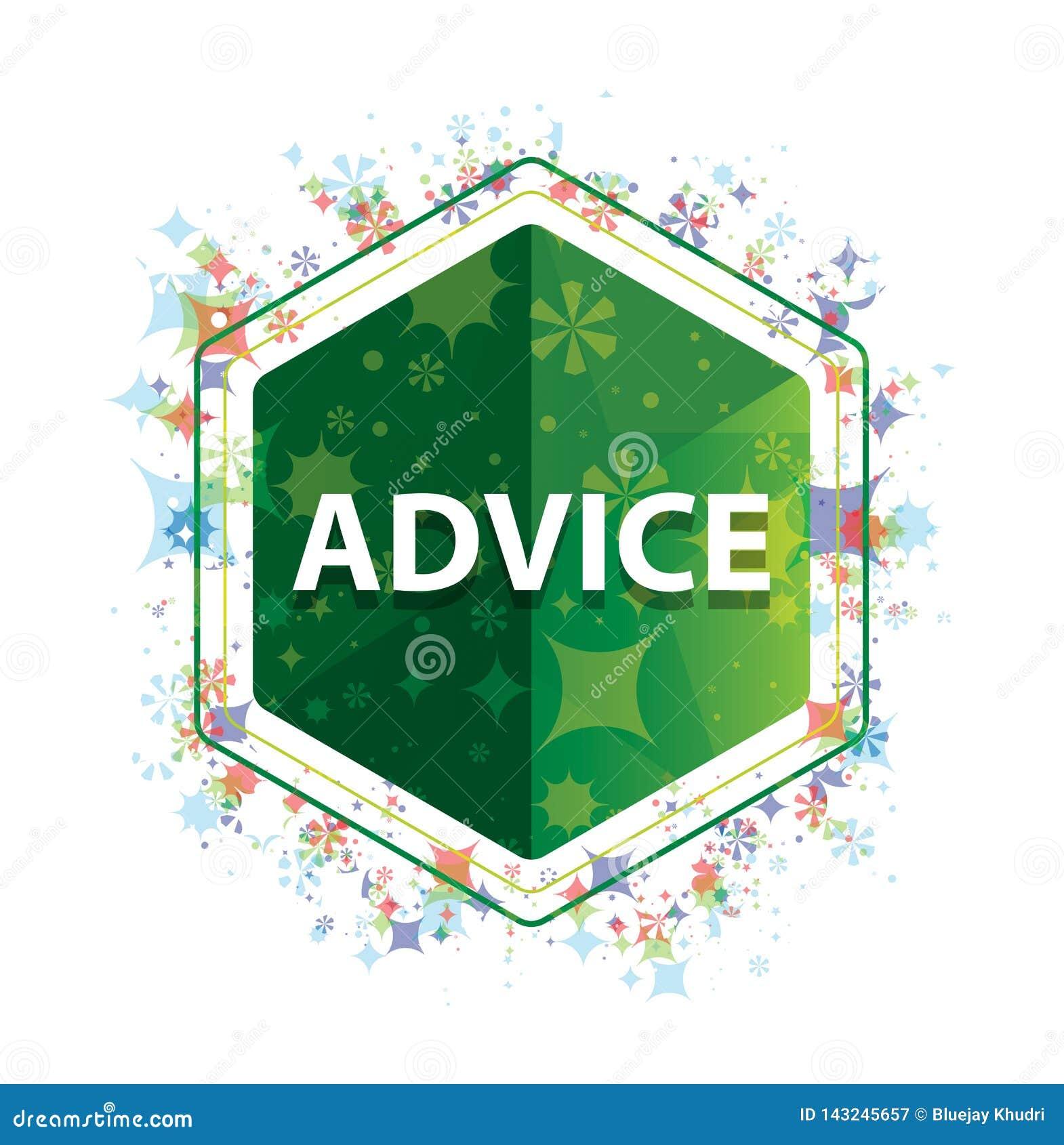忠告花卉植物样式绿色六角形按钮