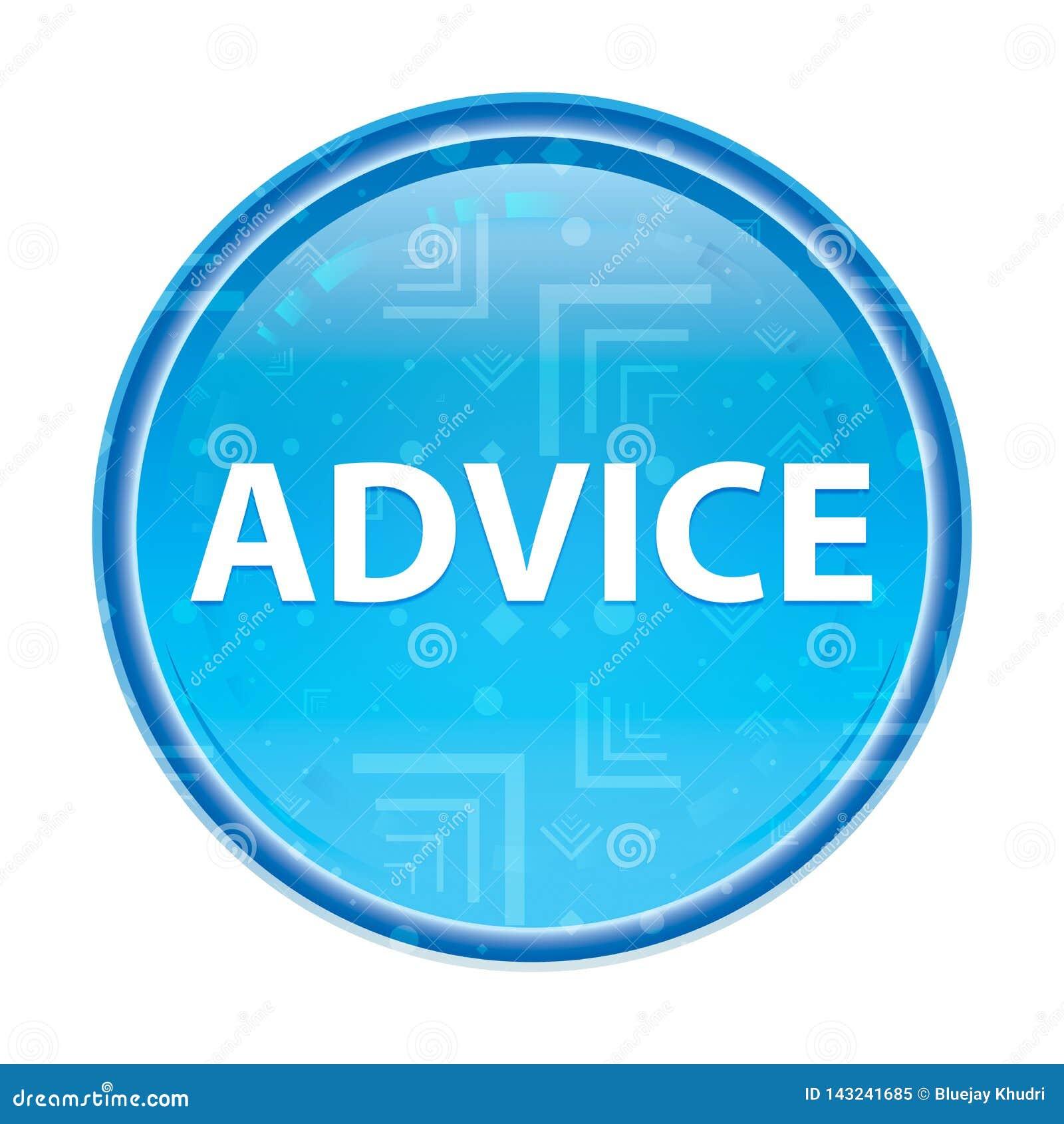 忠告花卉蓝色圆的按钮