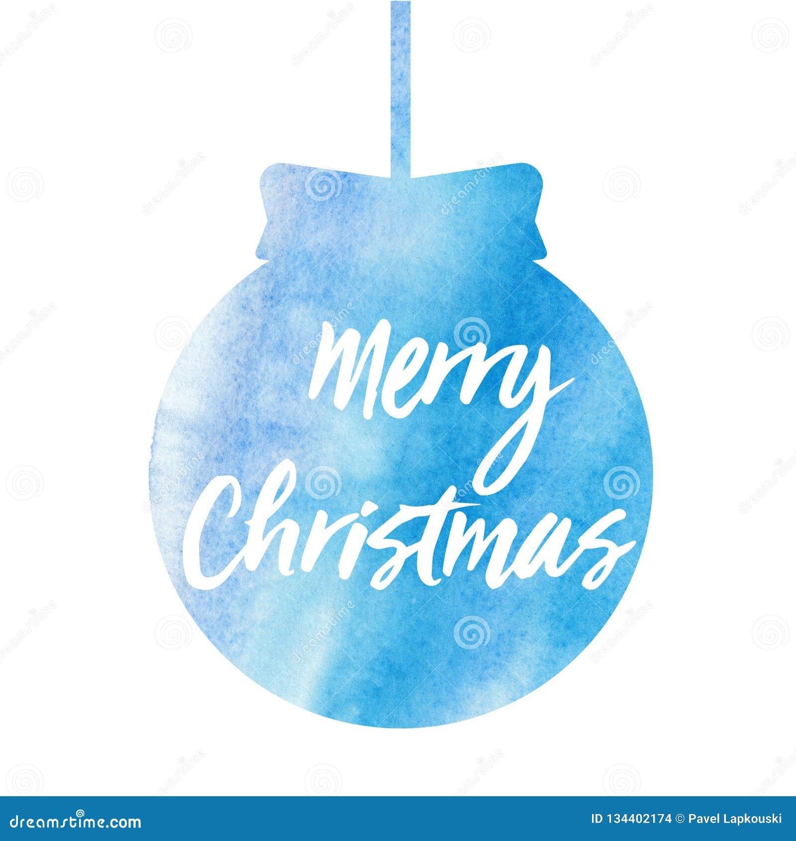 快活的圣诞节 与水彩圣诞节球的圣诞卡片