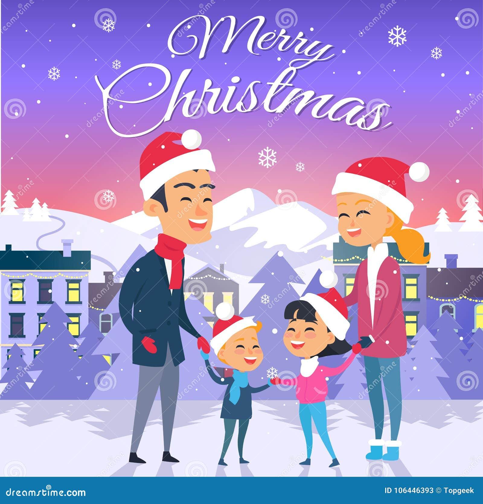 快活的圣诞节 愉快的四口之家户外