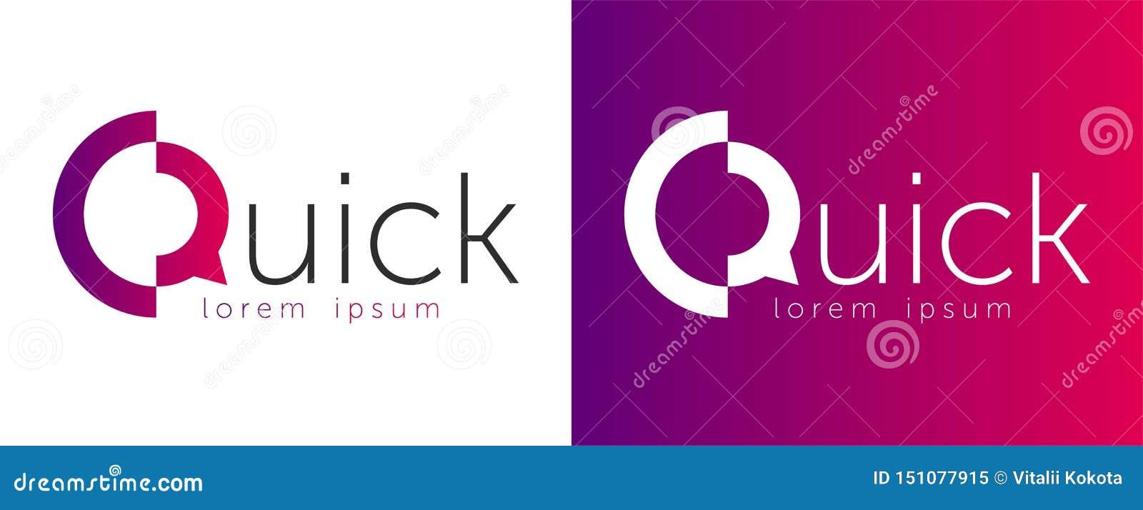 快的在上写字的传染媒介剪影商标 设计商标快与抽象Q 信件Q商标