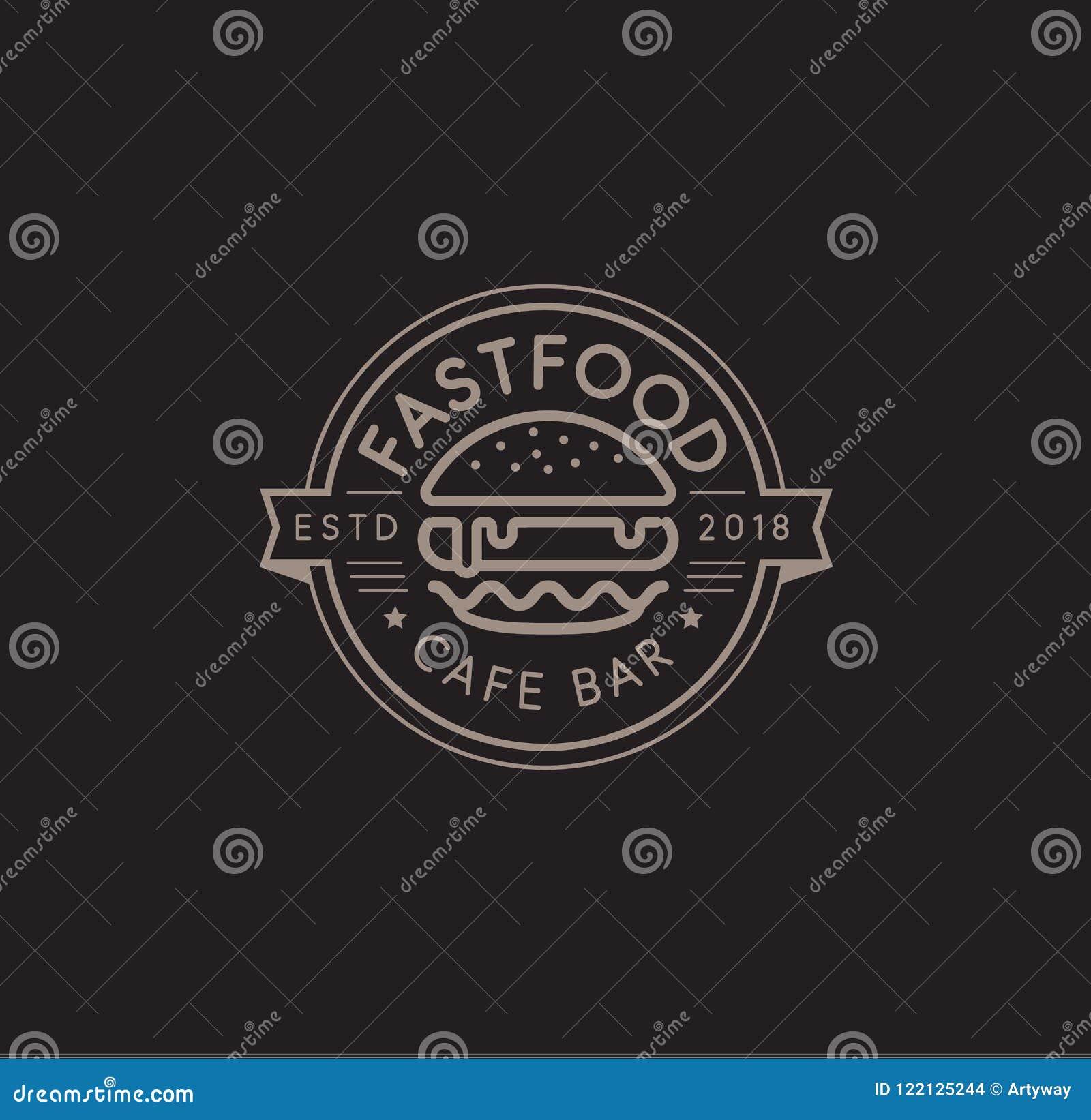 快餐传染媒介商标模板 热的汉堡线性邮票设计 汉堡包标志 乳酪汉堡标志设计 向量