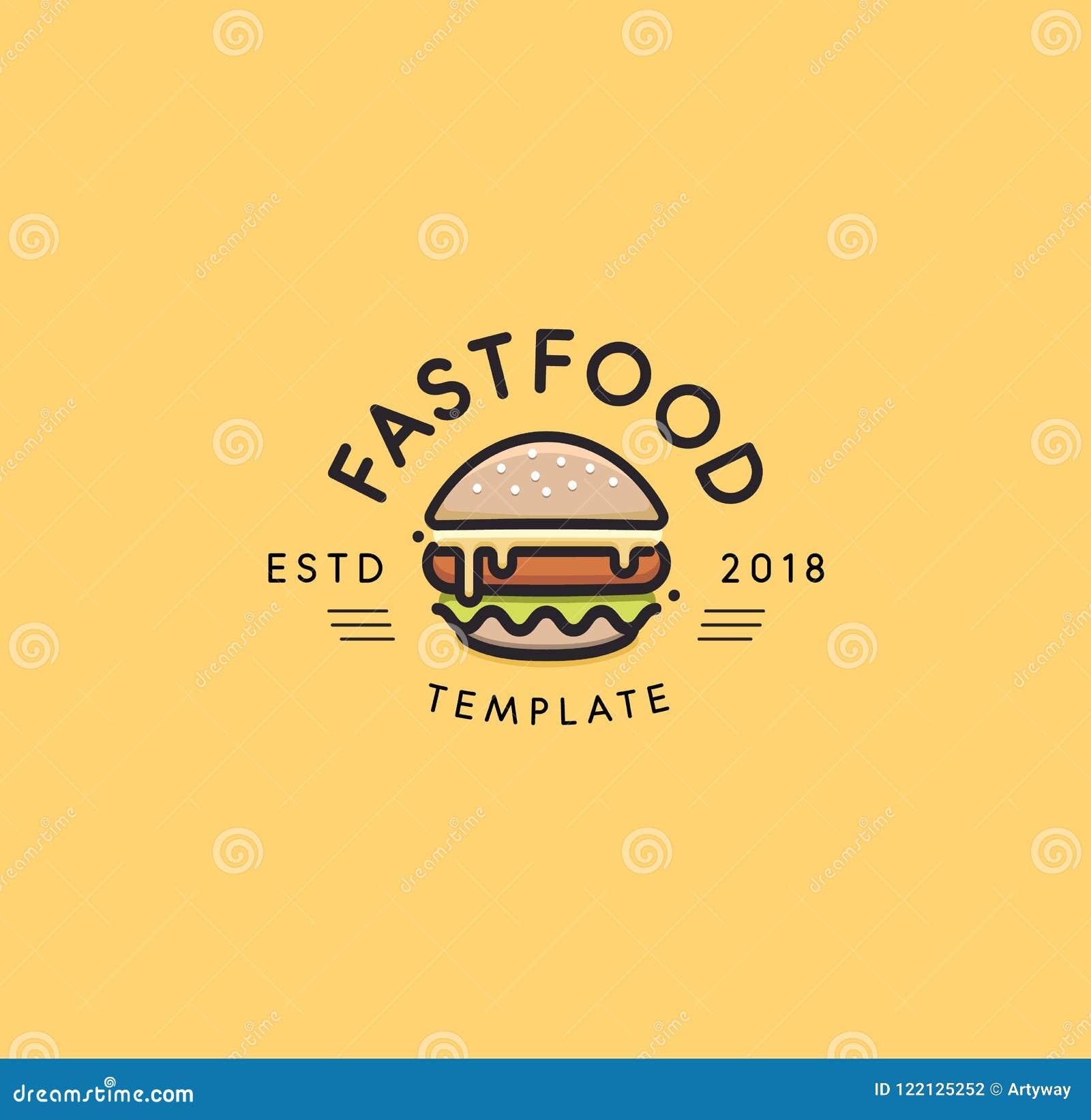 快餐传染媒介商标模板 热的汉堡设计 汉堡包标志 乳酪汉堡标志设计