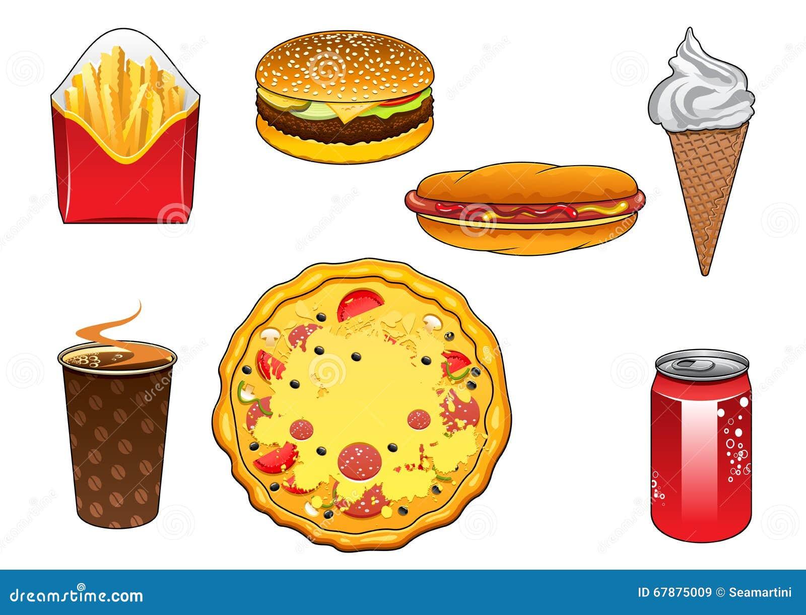 快餐快餐、汽水罐和冰淇凌