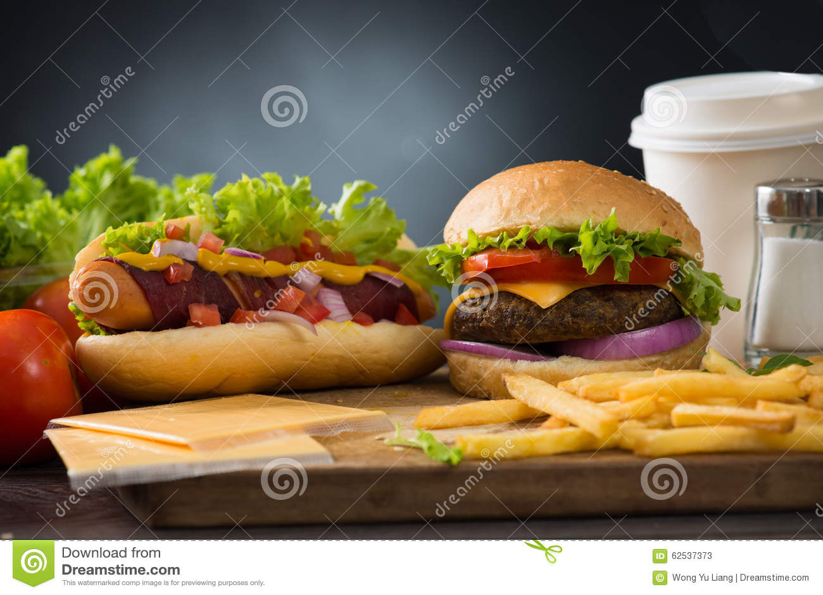 快餐汉堡包,热狗菜单用汉堡