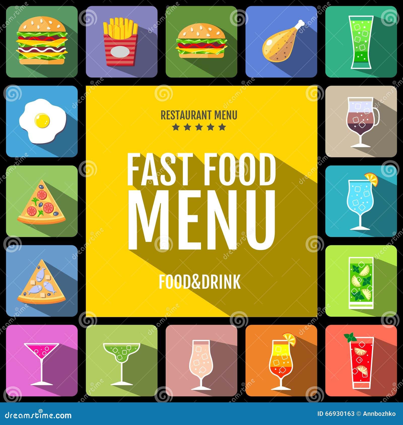 快餐菜单 套食物和饮料象 平的样式设计