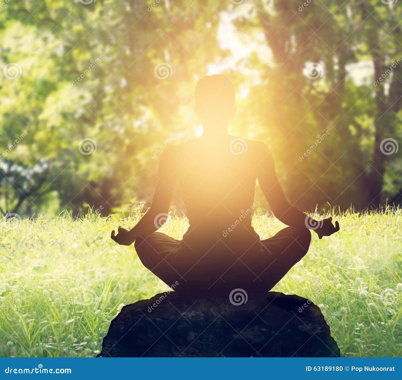 思考在森林里的妇女在日落背景