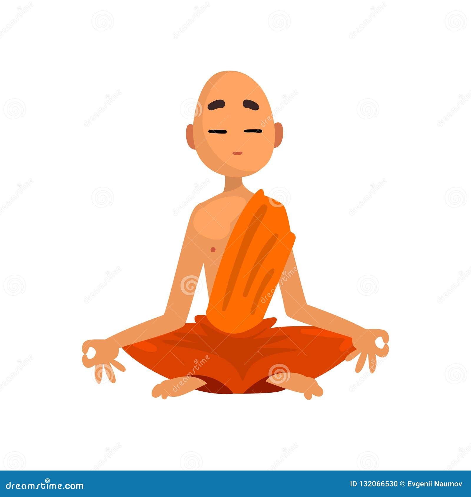 思考在橙色长袍传染媒介例证的和尚卡通人物在白色背景