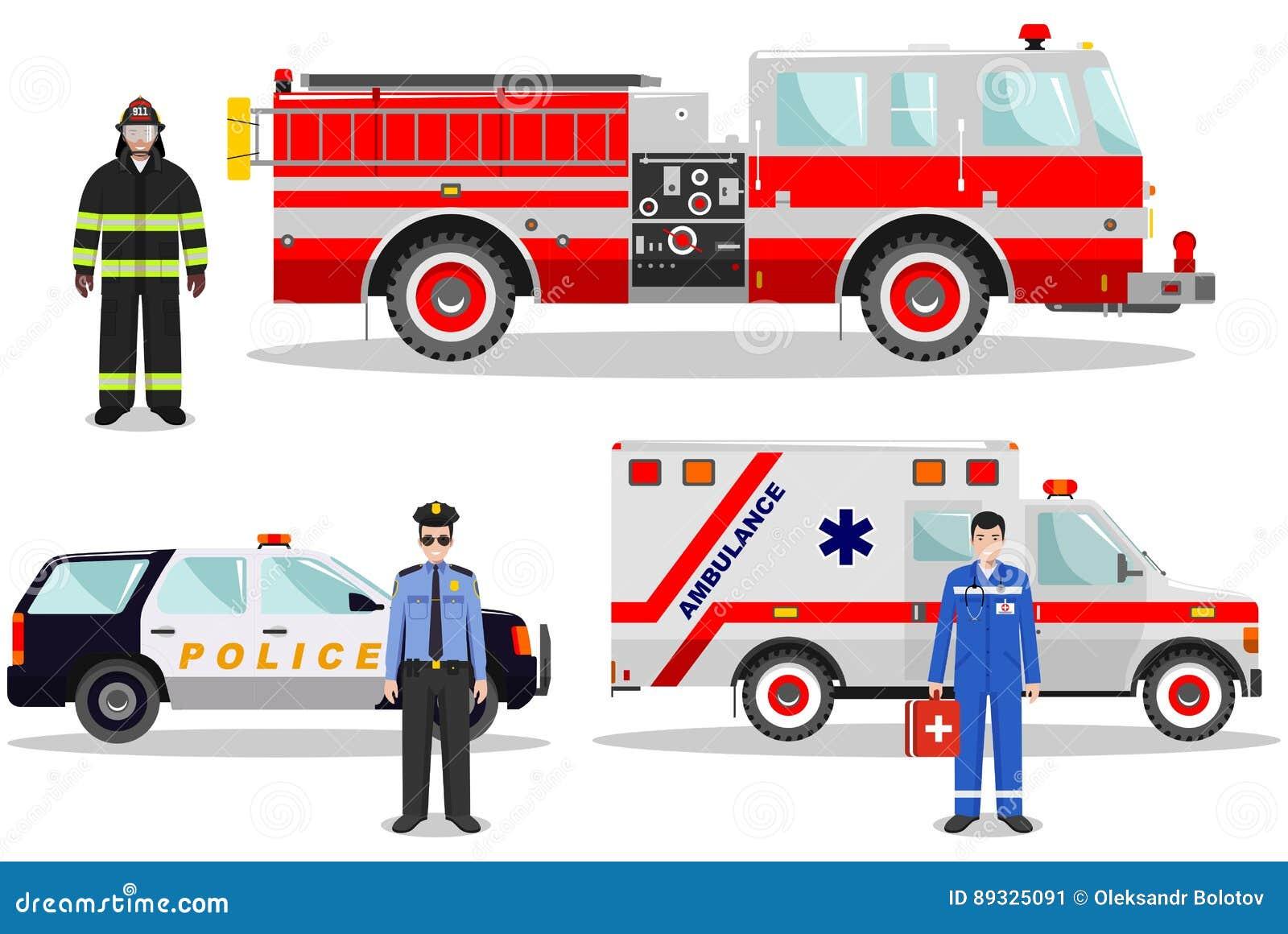 紧急概念 消防队员、医生、警察有消防车的,救护车和警车的详细的例证