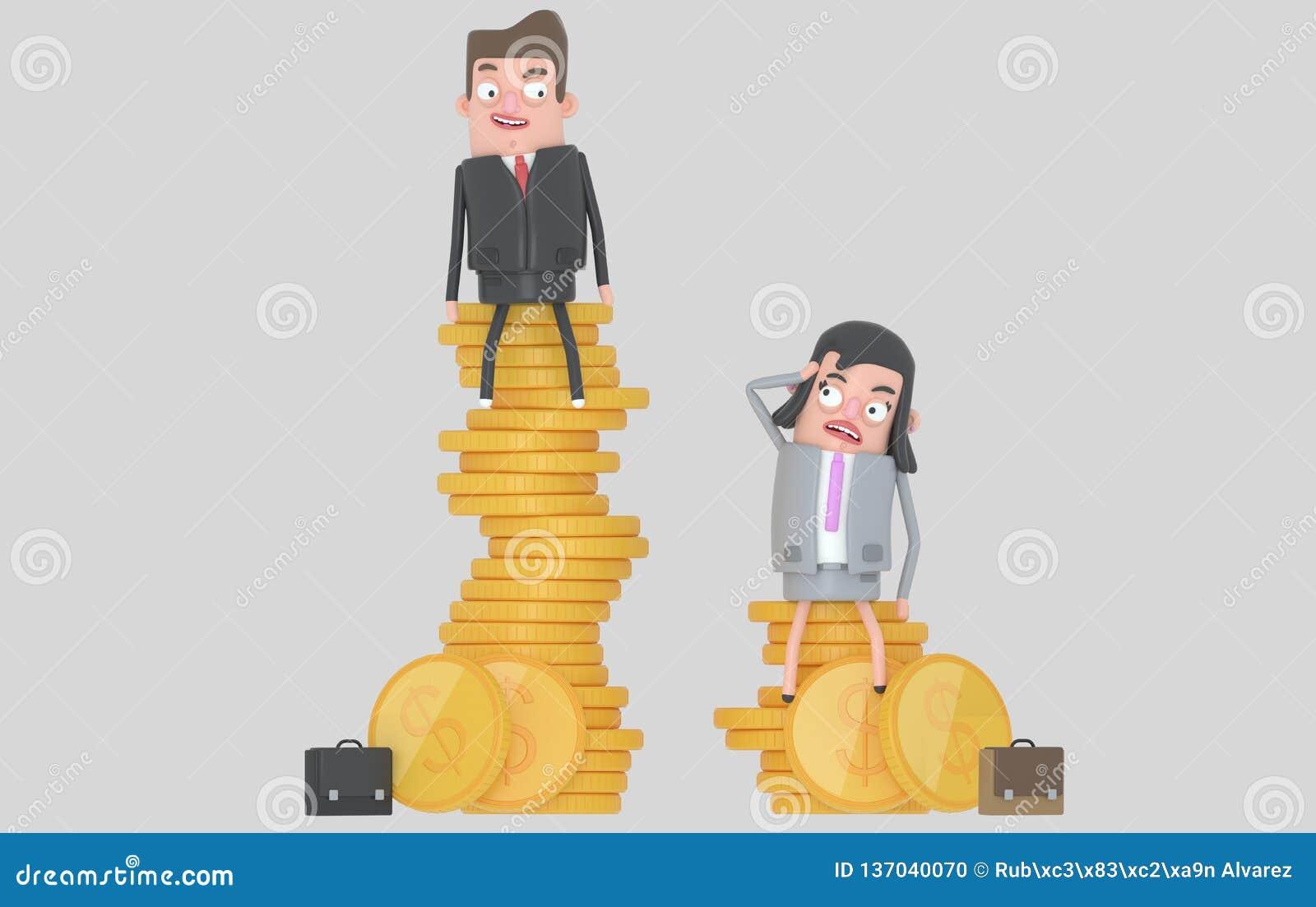 性别薪水区别概念 坐在堆的男人和妇女硬币顶部 查出