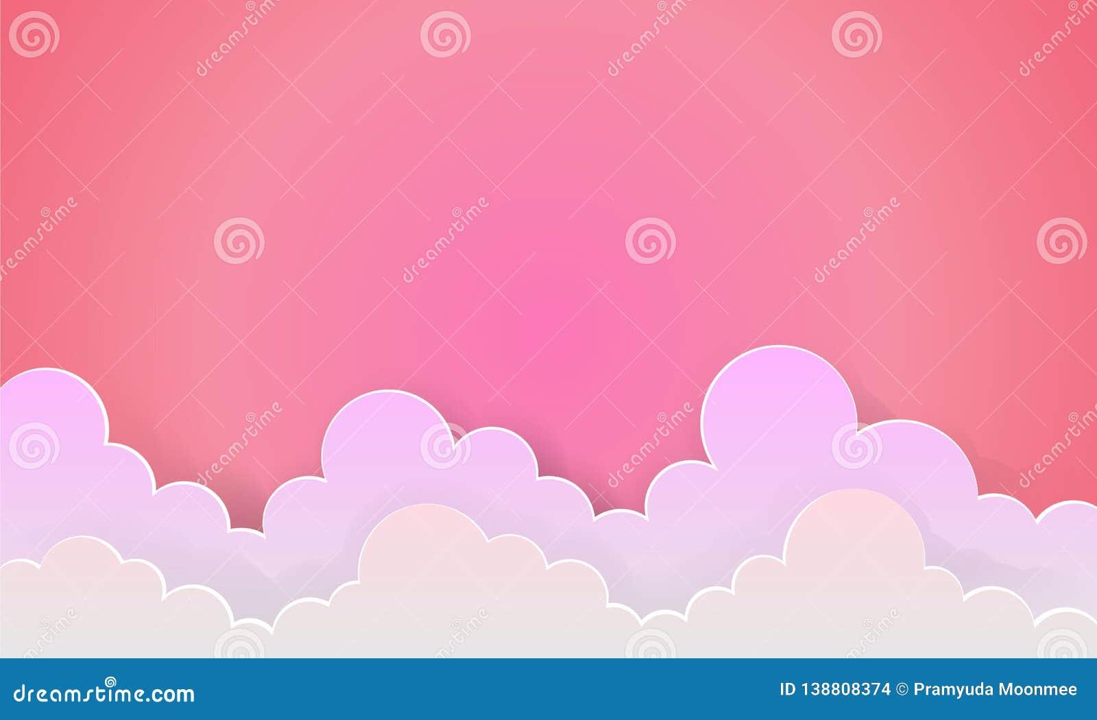 恋人桃红色天空和日出背景作为爱纸艺术和工艺样式传染媒介
