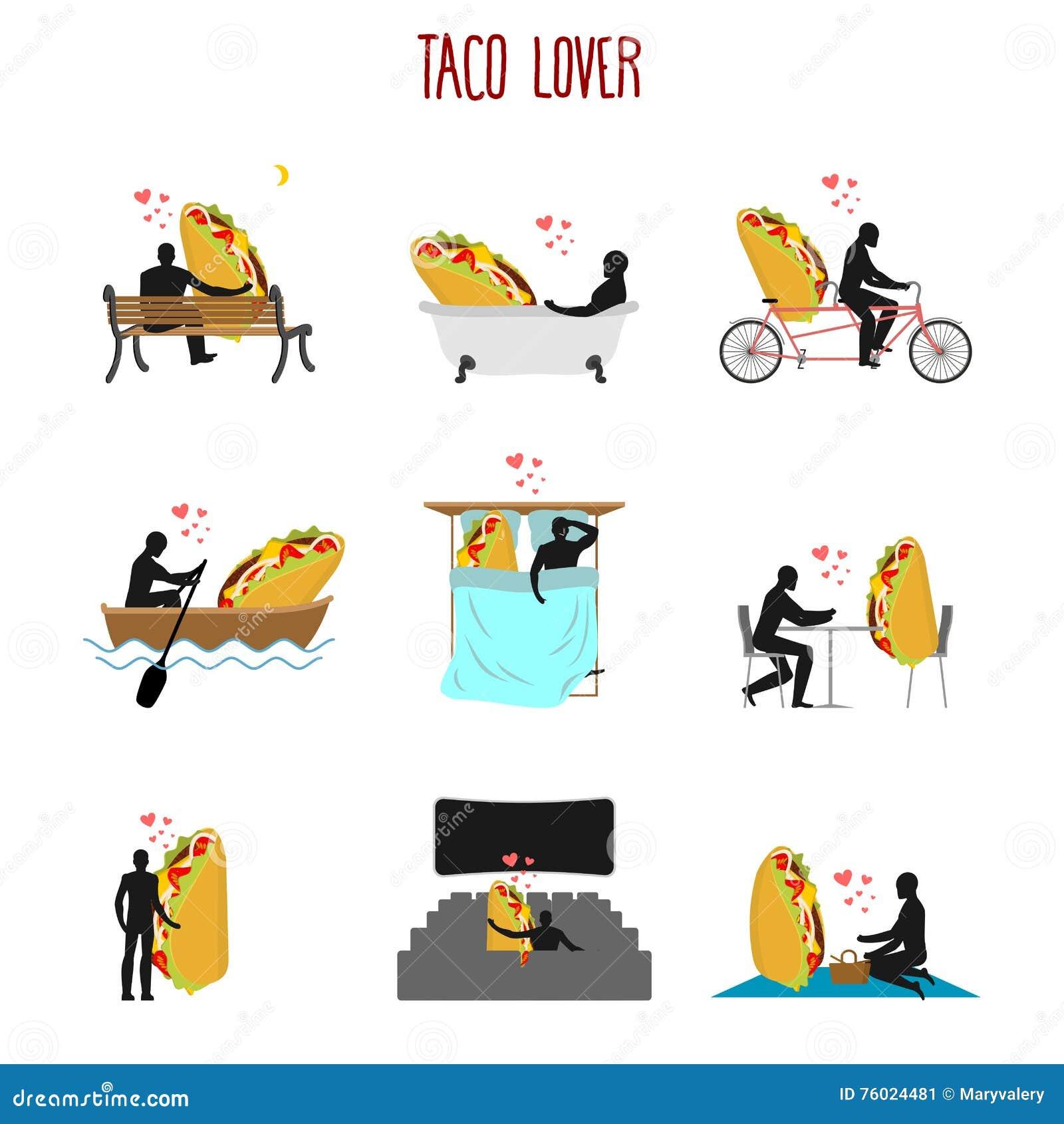 恋人炸玉米饼集合 对墨西哥食物收藏的爱 人和fastfoo