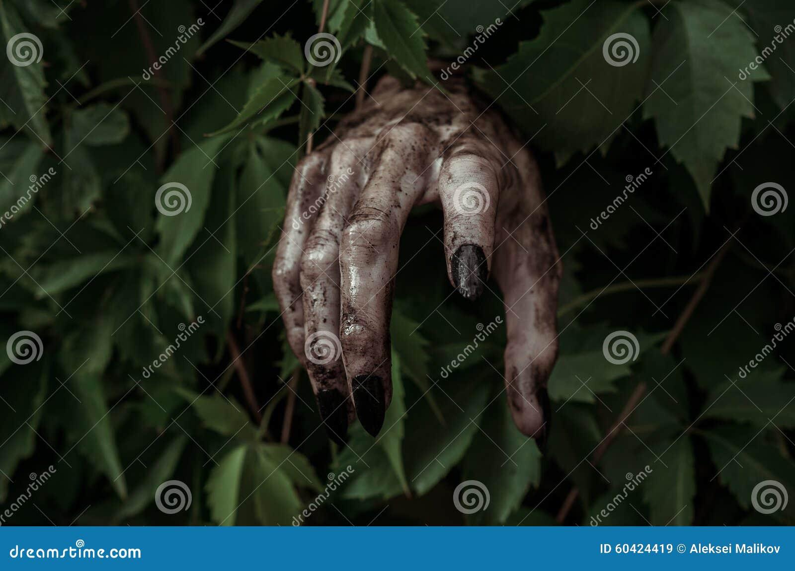 恐怖和万圣夜题材:有黑人指甲盖蛇神的可怕的肮脏的手爬出绿色叶子,走的死的启示