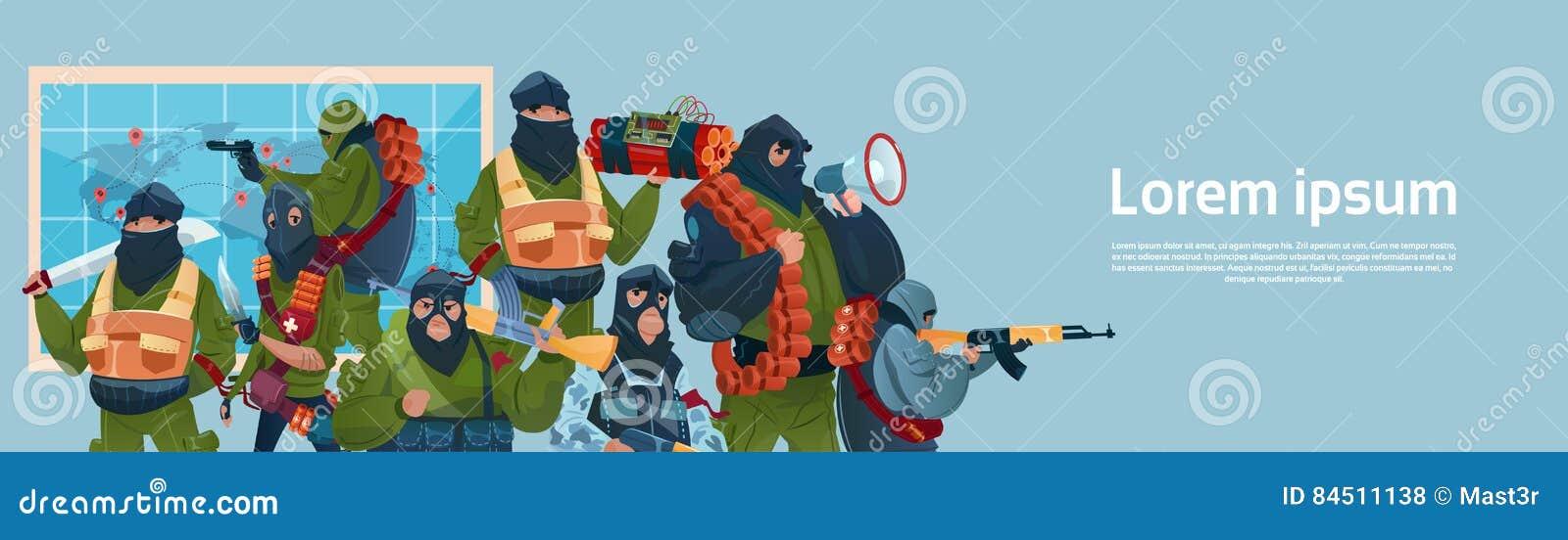恐怖主义武装恐怖分子黑色面具举行武器机枪计划世界攻击