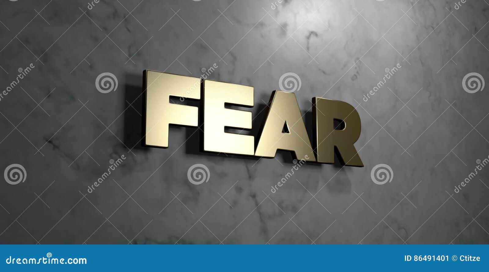 恐惧-在光滑的大理石墙壁登上的金标志- 3D回报了皇族自由储蓄例证