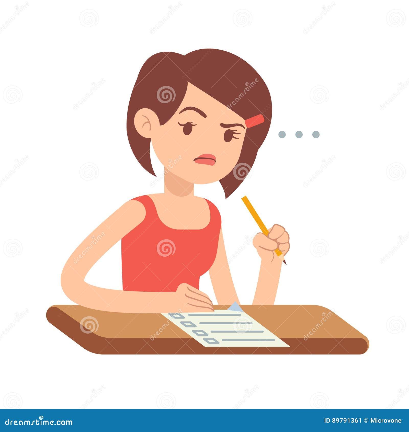 恐慌的疯狂的担心的少妇学生在检查传染媒介例证