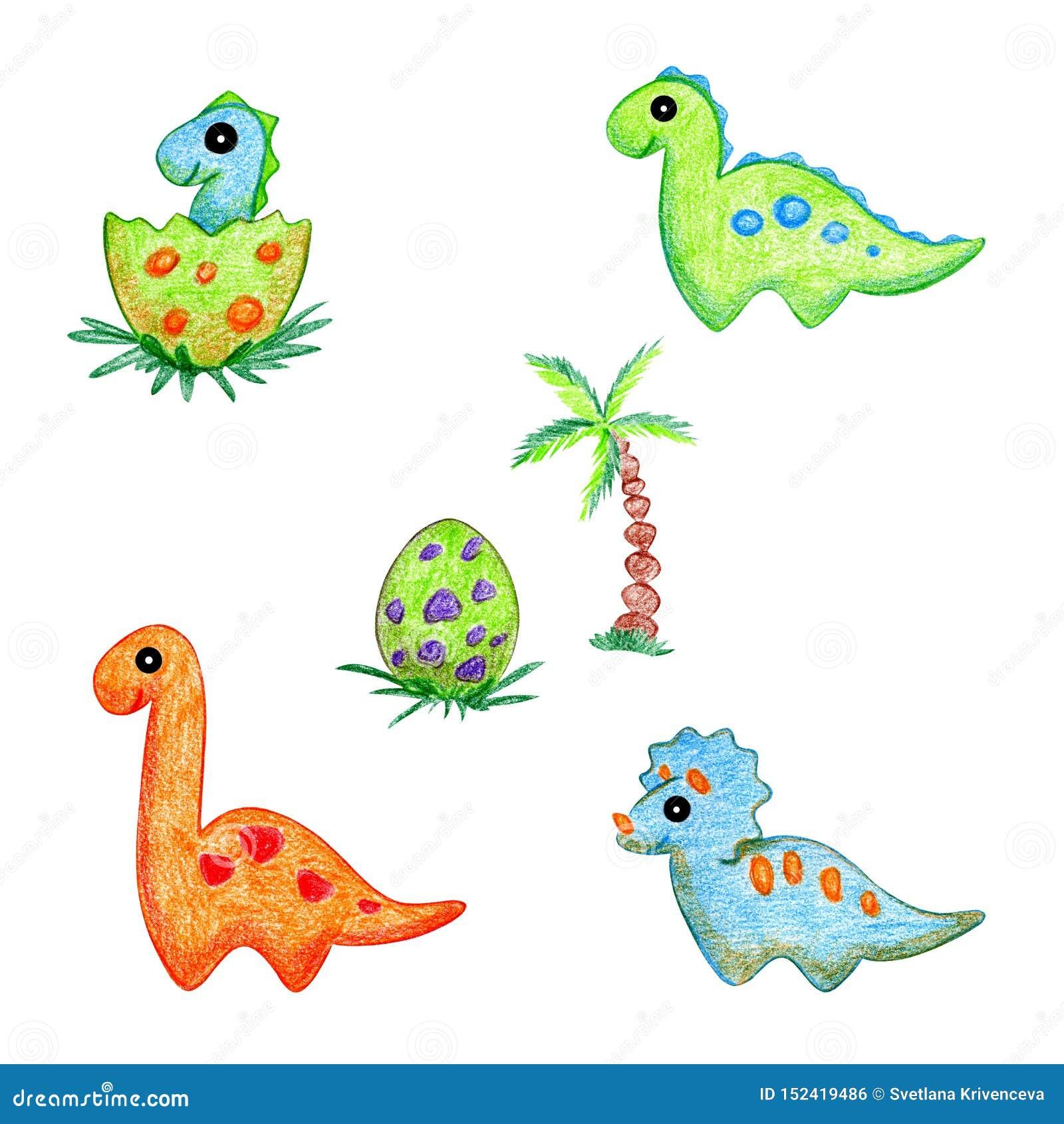 恐龙动画片手图画集合