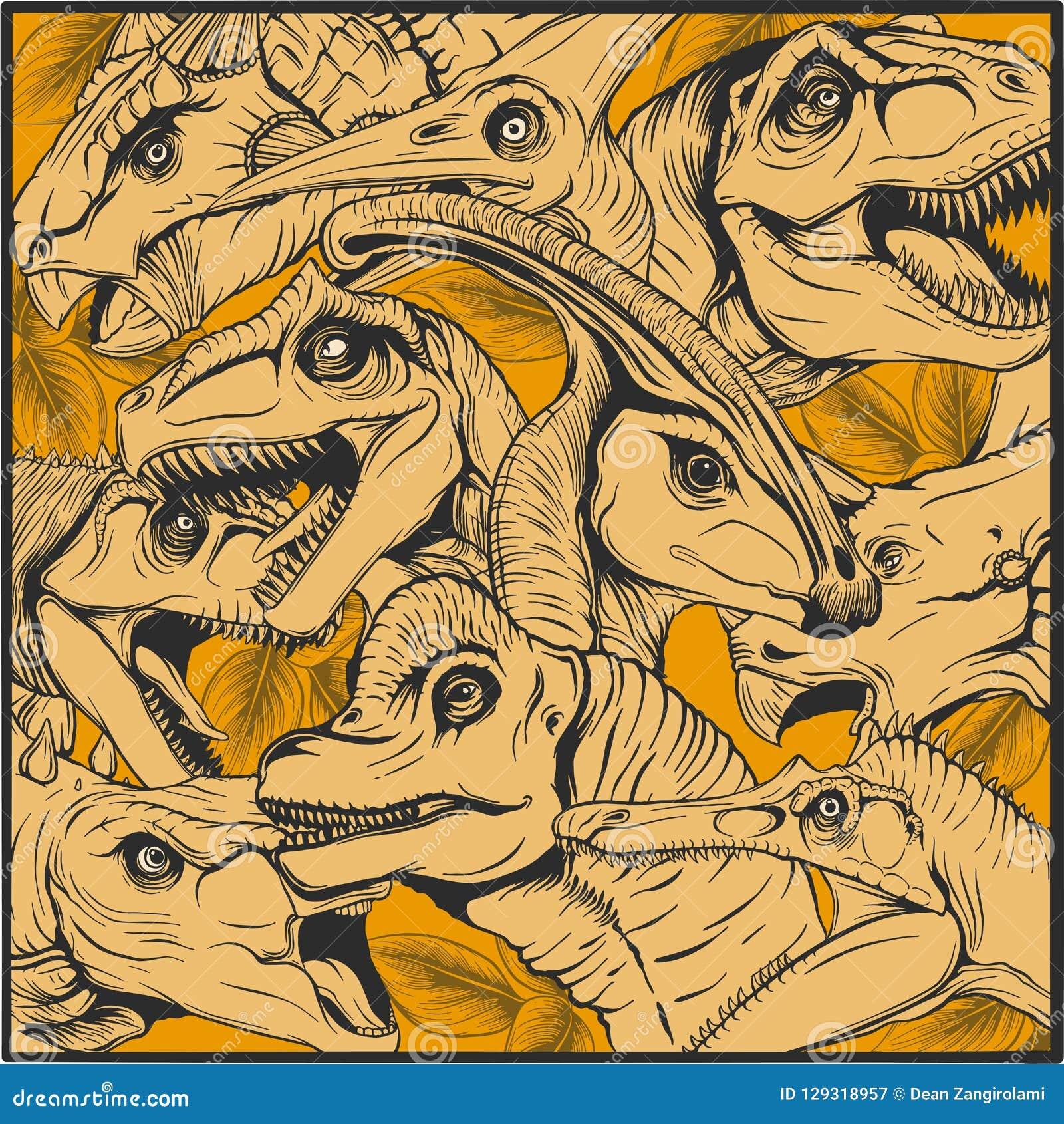恐龙动画片汇集、五颜六色的套幻想逗人喜爱的妖怪,动物和史前字符梁龙