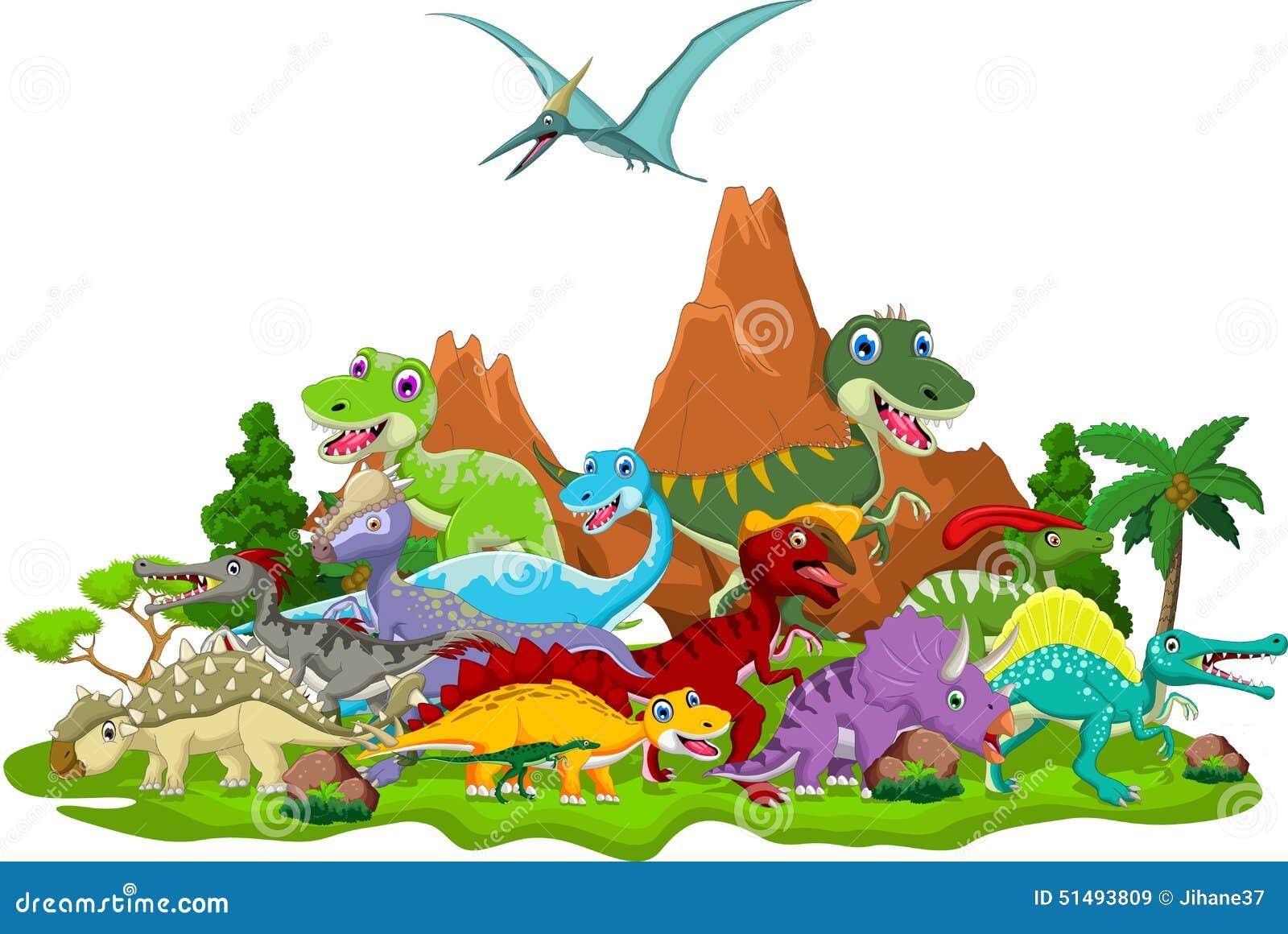 恐龙动画片的例证有风景背景.图片