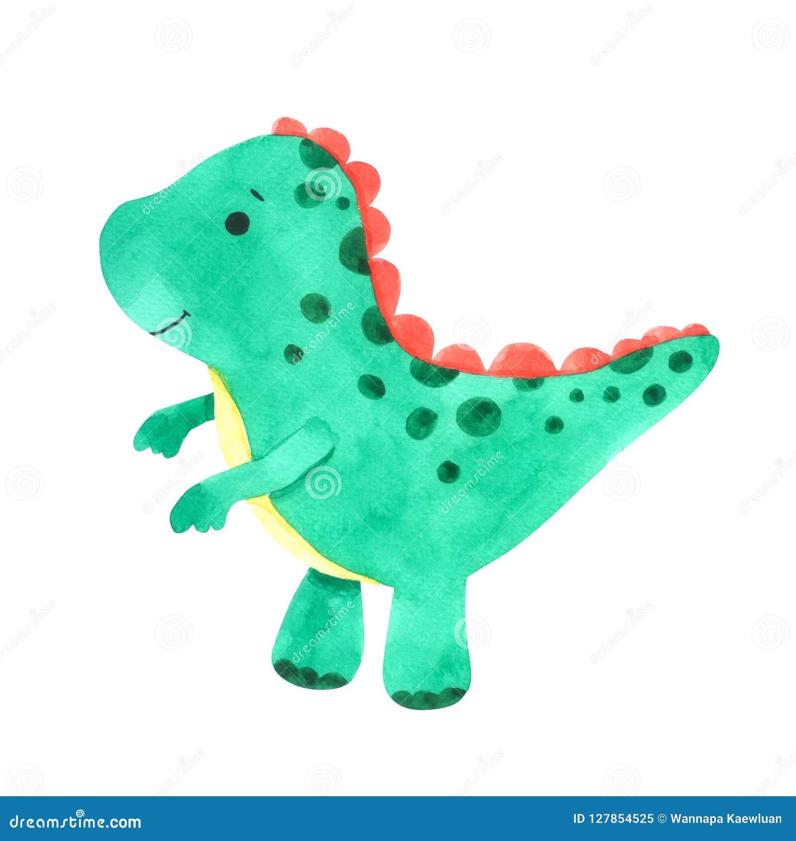 恐龙水彩动画片集合 在白色背景隔绝的逗人喜爱的恐龙
