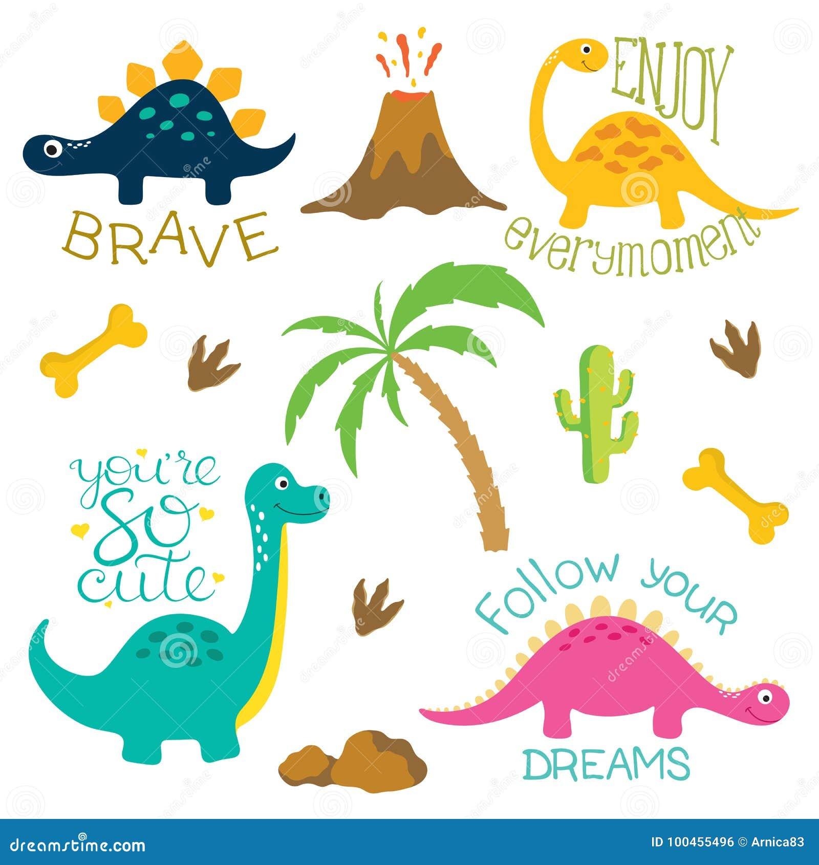 恐龙脚印、火山,棕榈树、石头、骨头和仙人掌