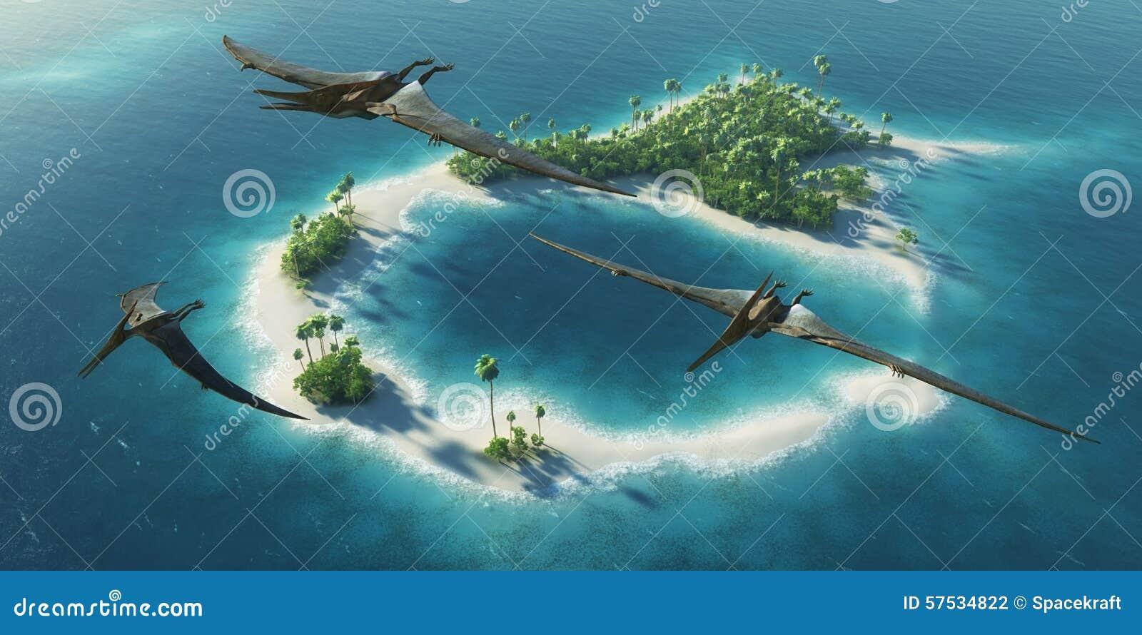 恐龙自然公园 侏罗纪期间 飞行在天堂热带海岛上的恐龙