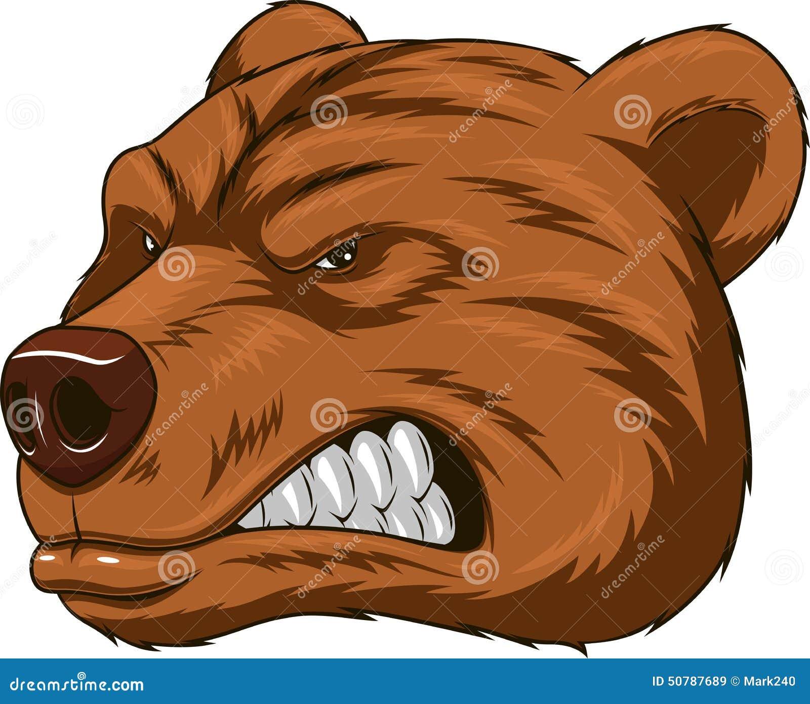 导航例证,恼怒的熊头吉祥人,顶头吉祥人.图片