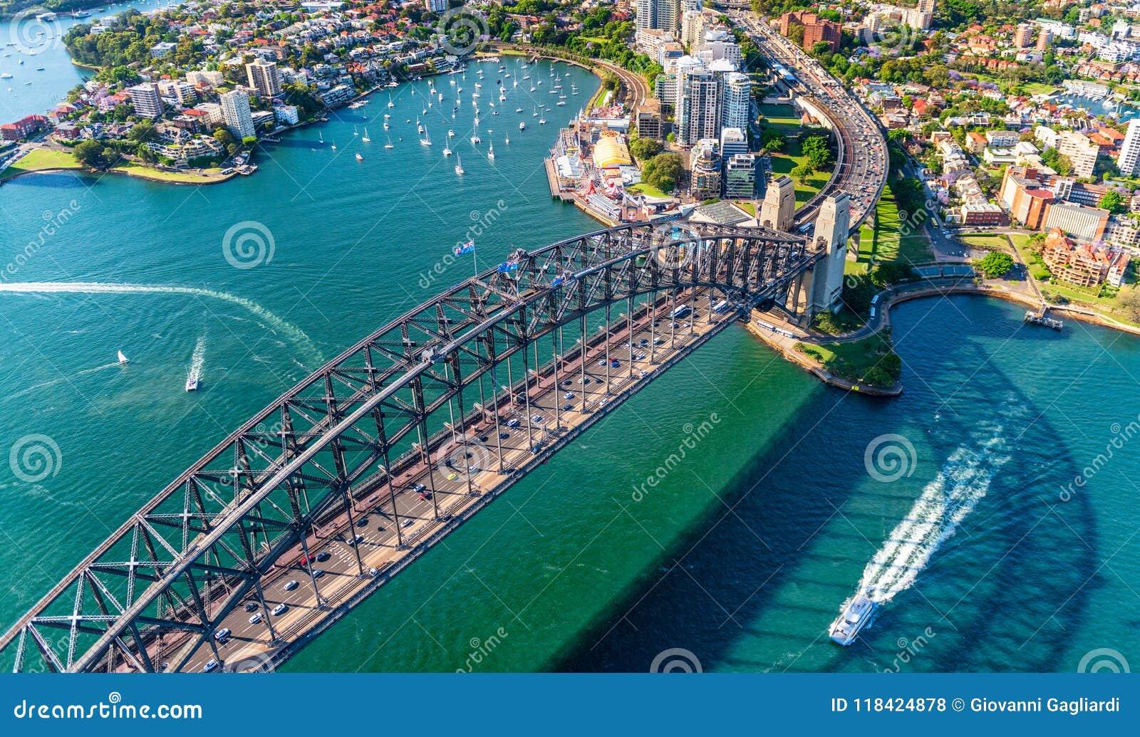 悉尼港桥直升机视图和淡紫色如此咆哮,新