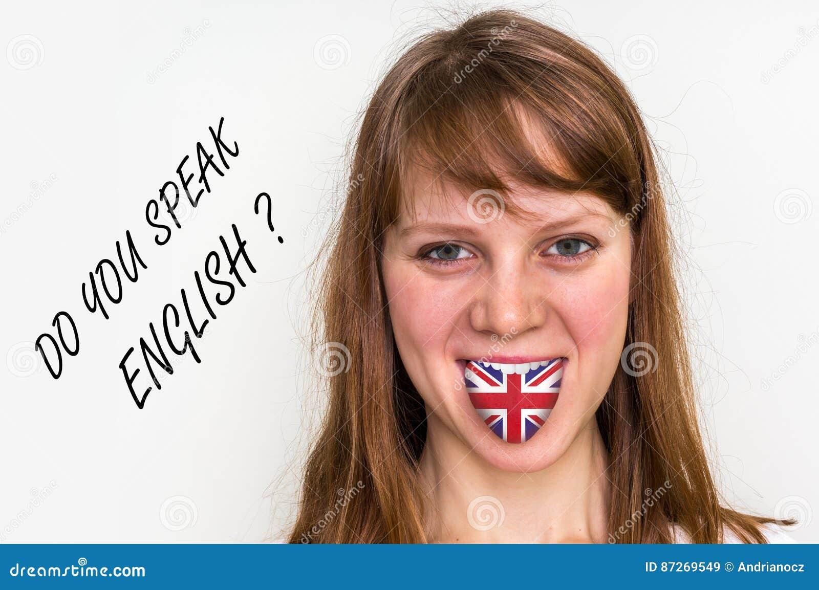 您是否讲英语?有旗子的妇女在舌头