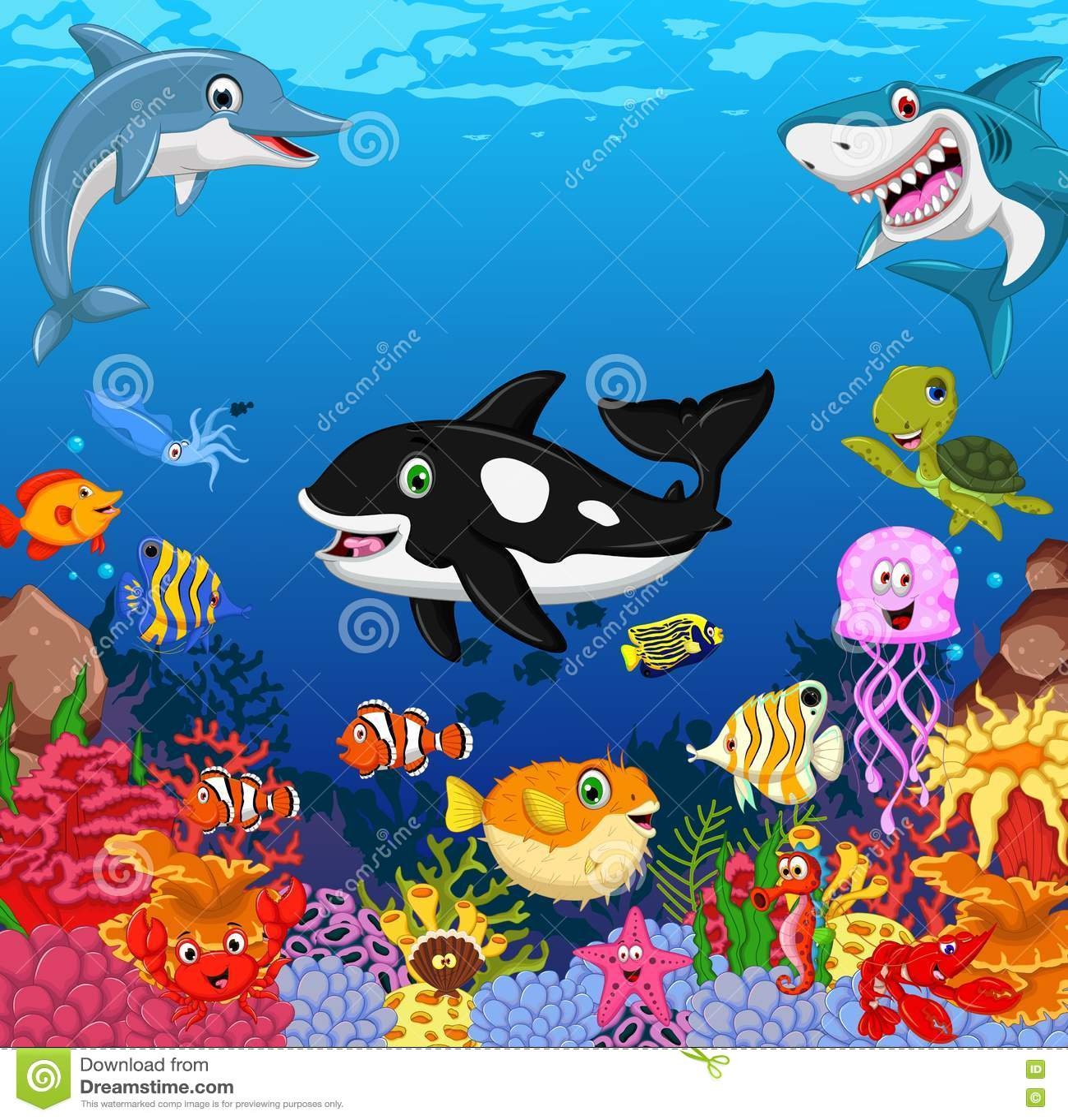 您的滑稽的鱼动画片海洋生活设计 库存例证. 插画 包括有 图画, 要素, 动画片, 字符, 珊瑚, 发嗡嗡声的东西
