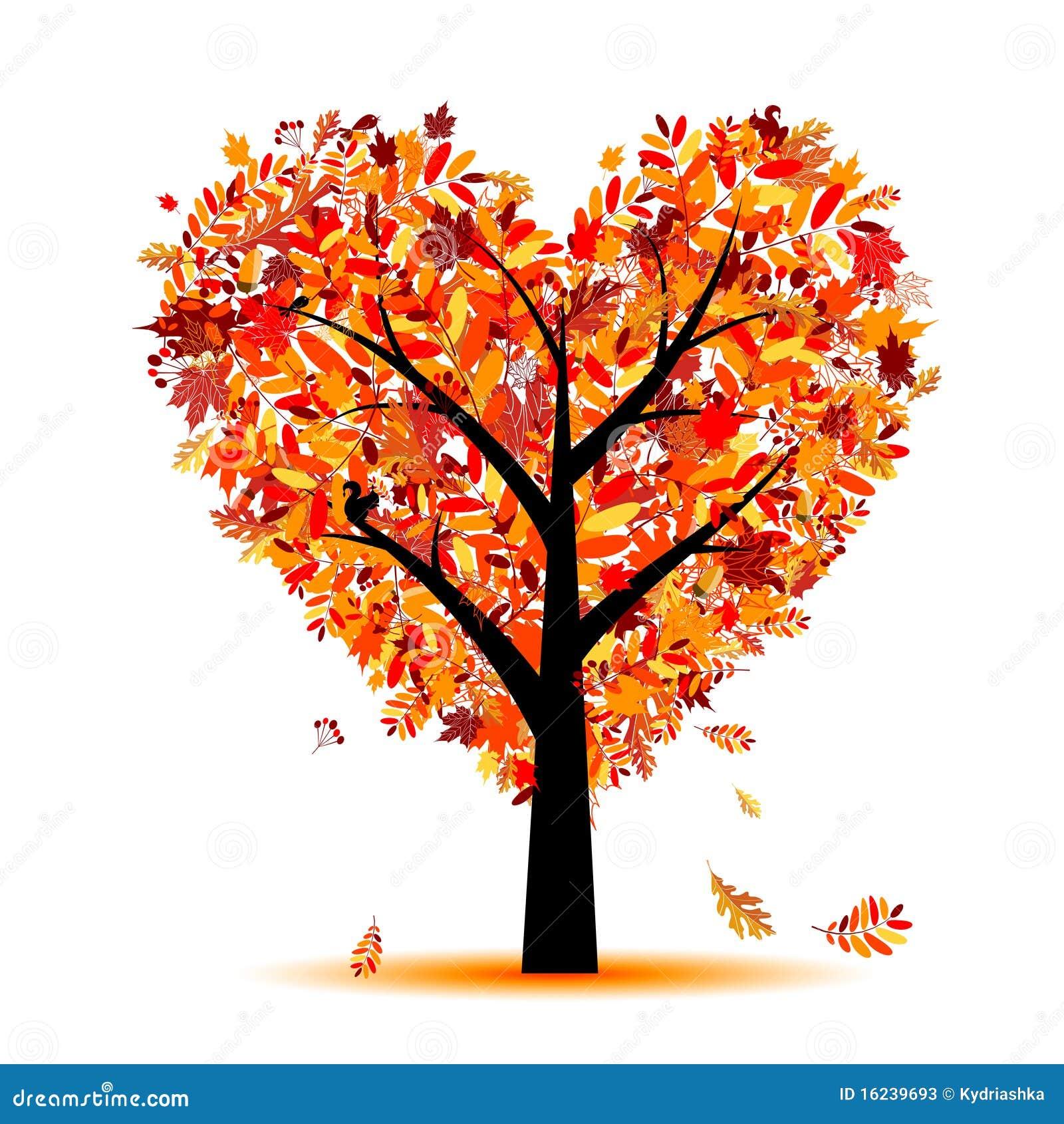 您秋天美丽的设计重点形状的结构树