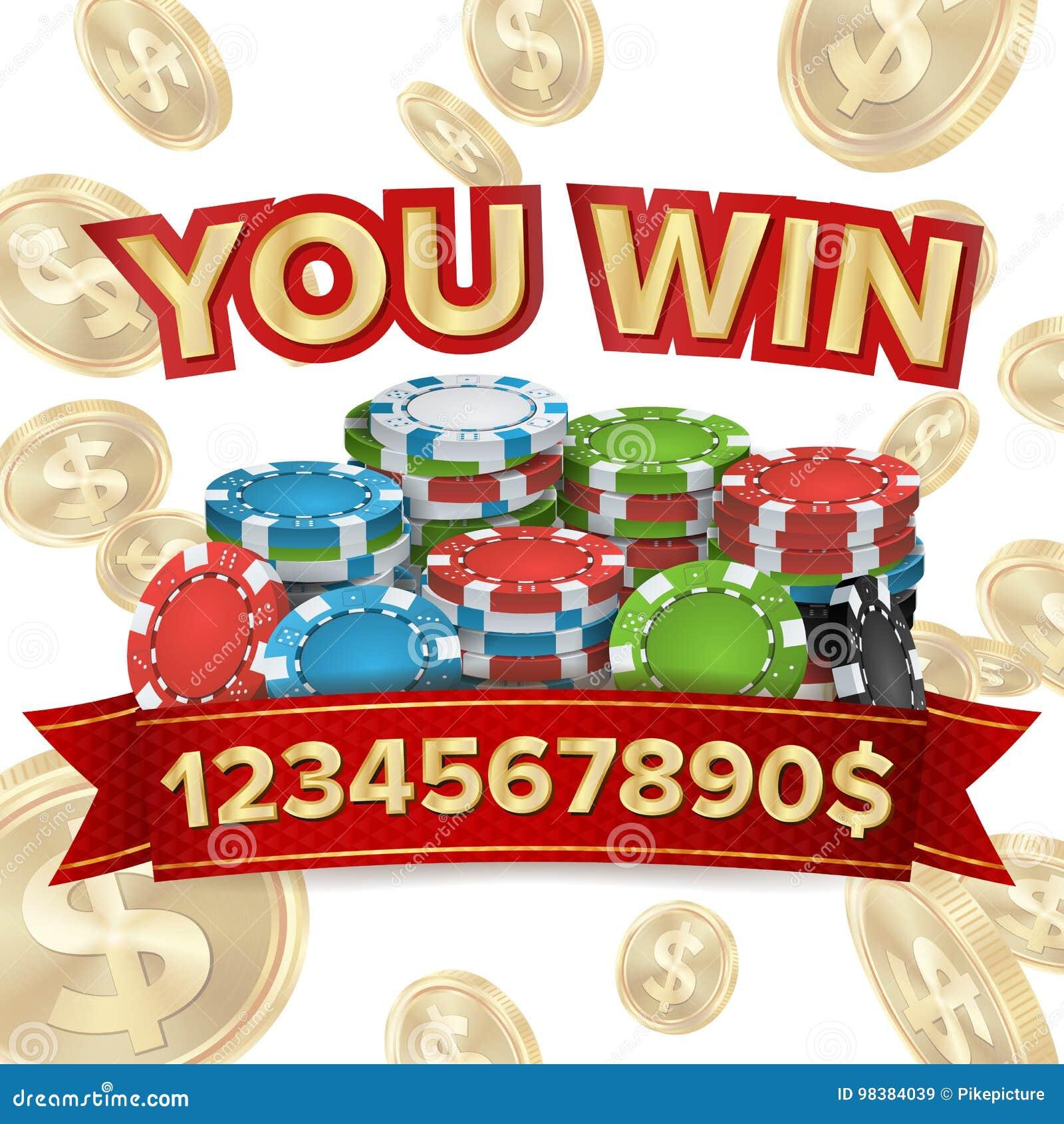 您赢取 困境背景传染媒介 落的爆炸金币例证 困境得奖的设计 切削啤牌 硬币