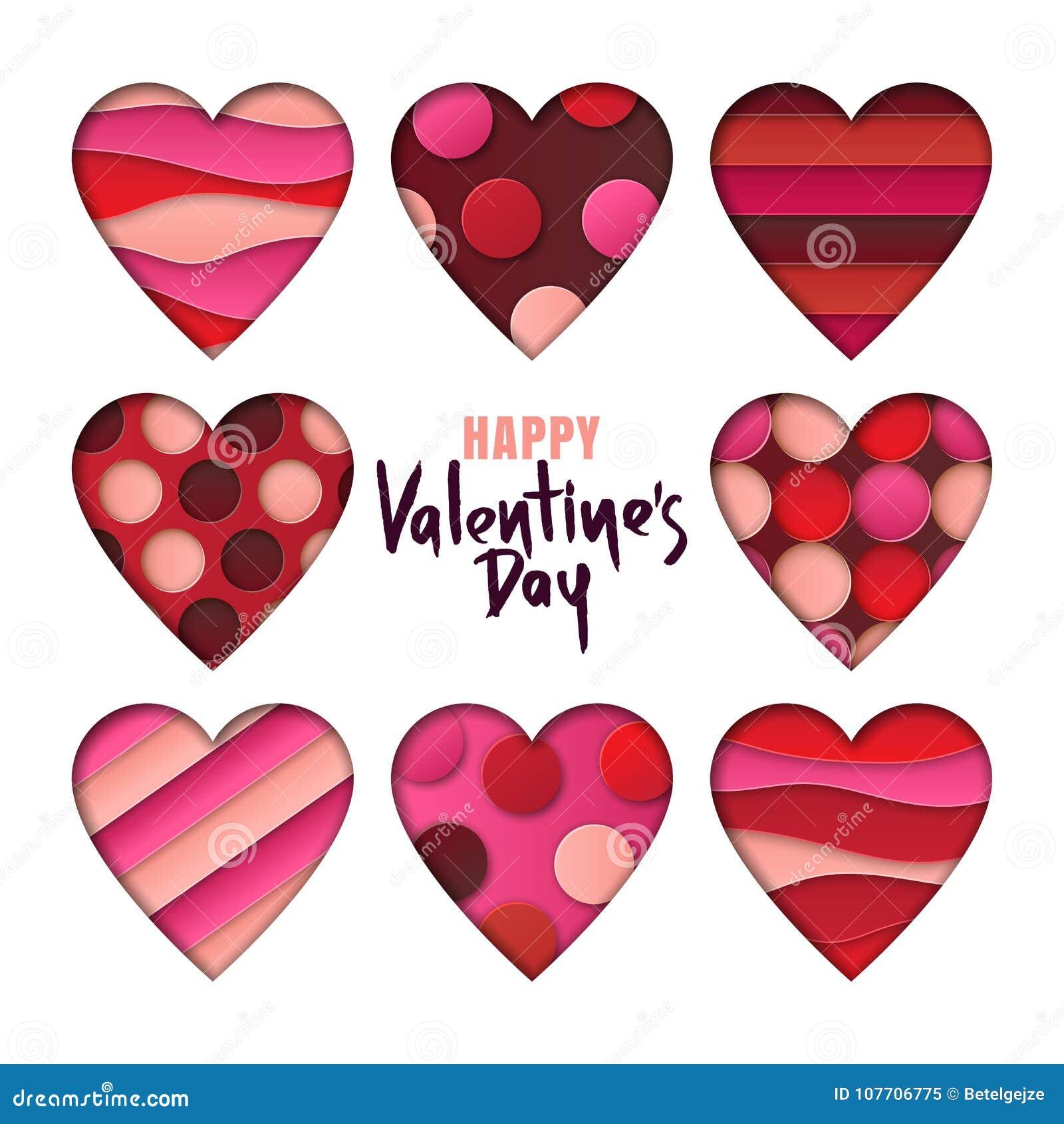 情人节设计元素 套与3d在白色背景削减了形状隔绝的摘要纸的心脏