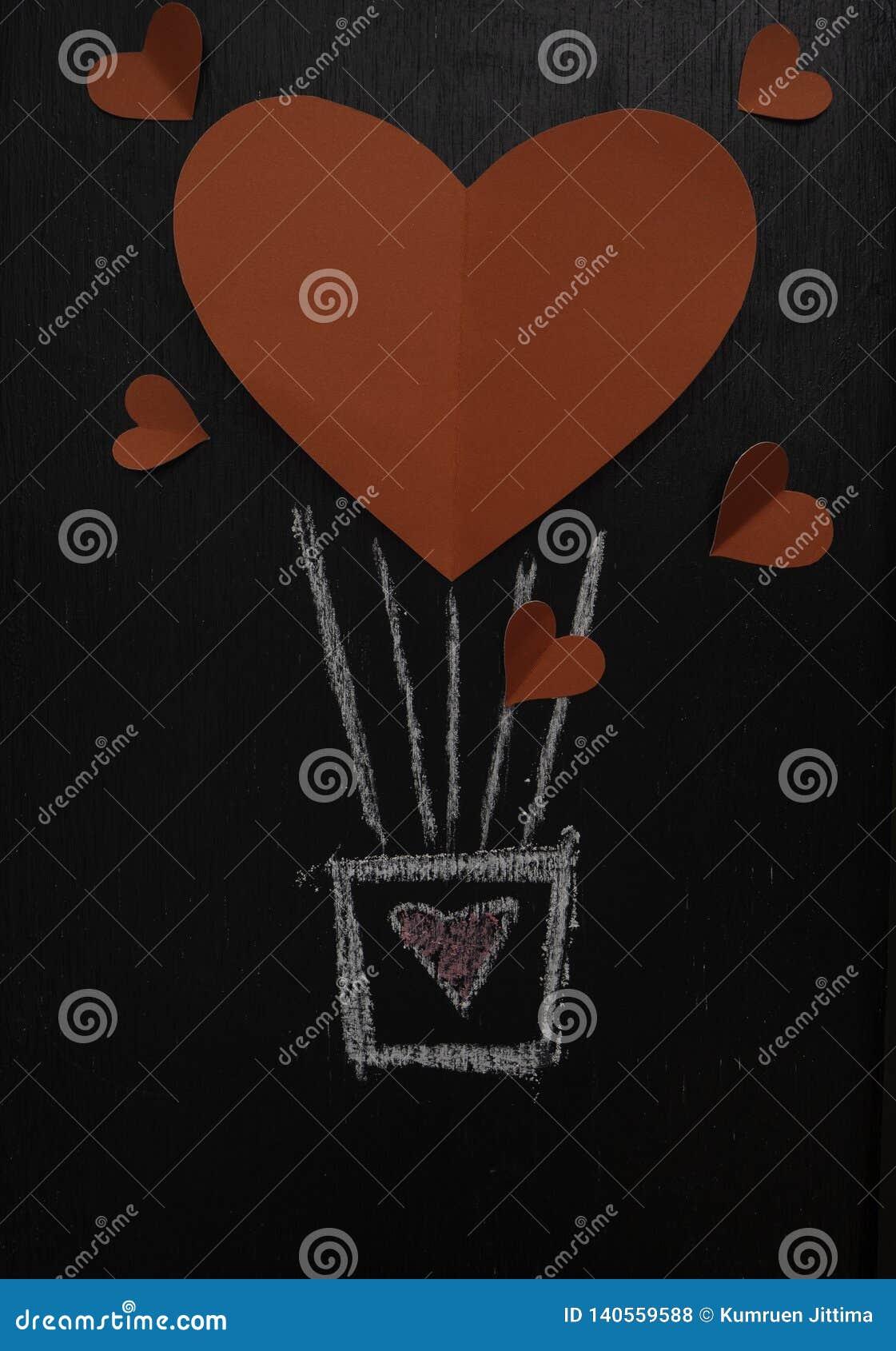 情人节黑板的红心气球