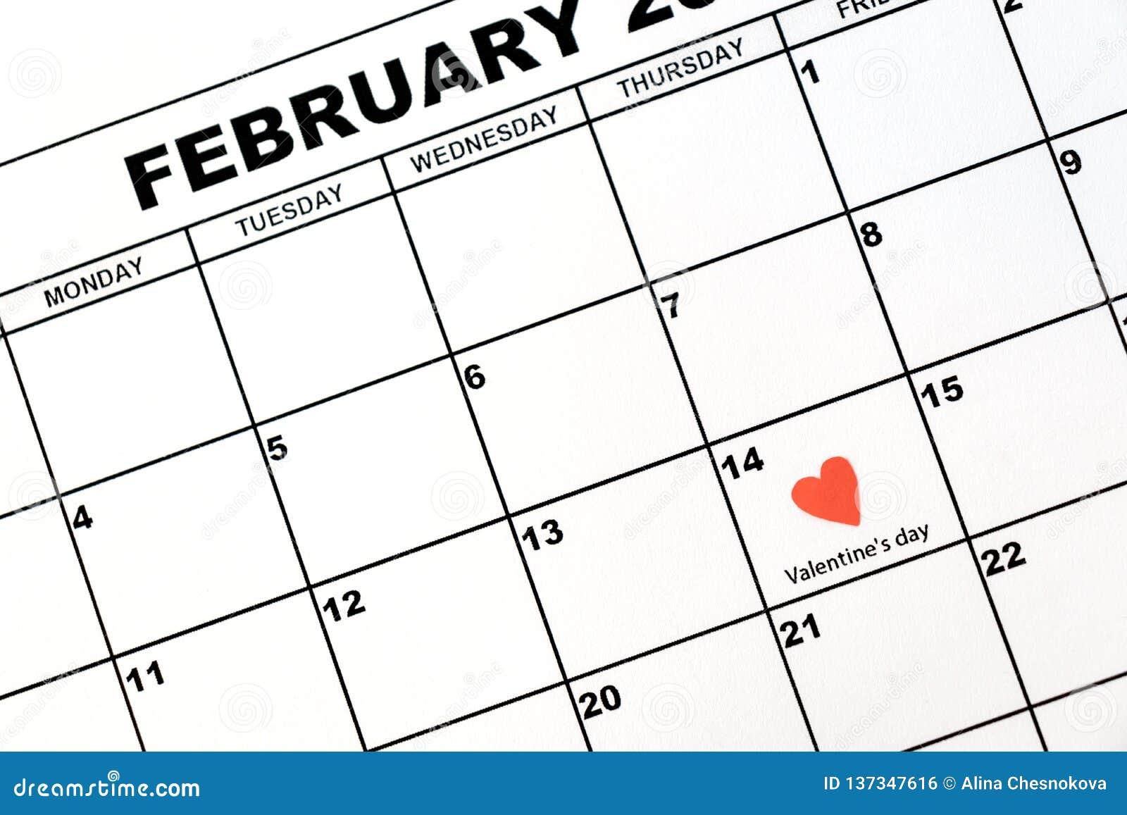 情人节,在日历的2月14日,