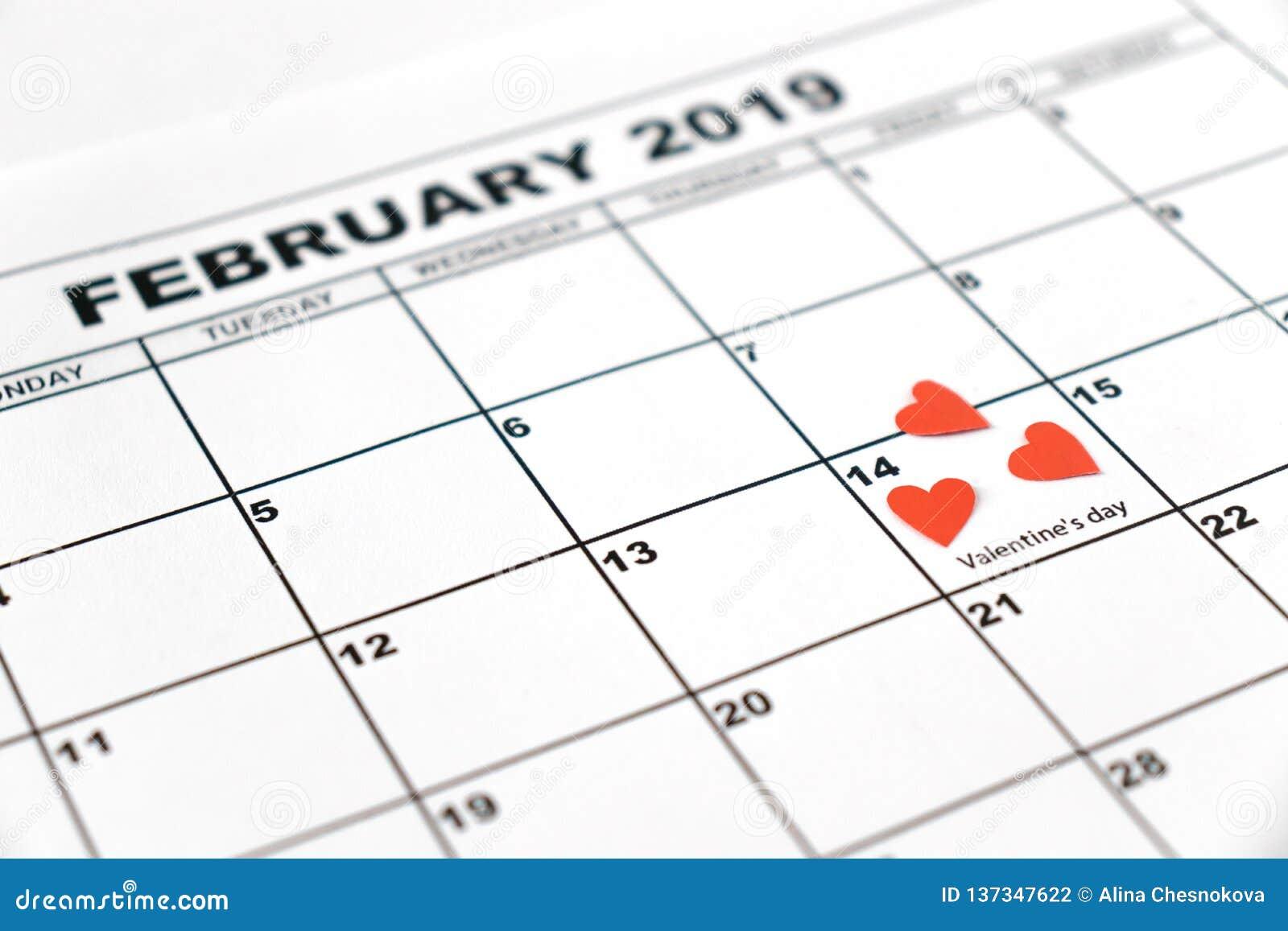 情人节,2019年2月14日在日历