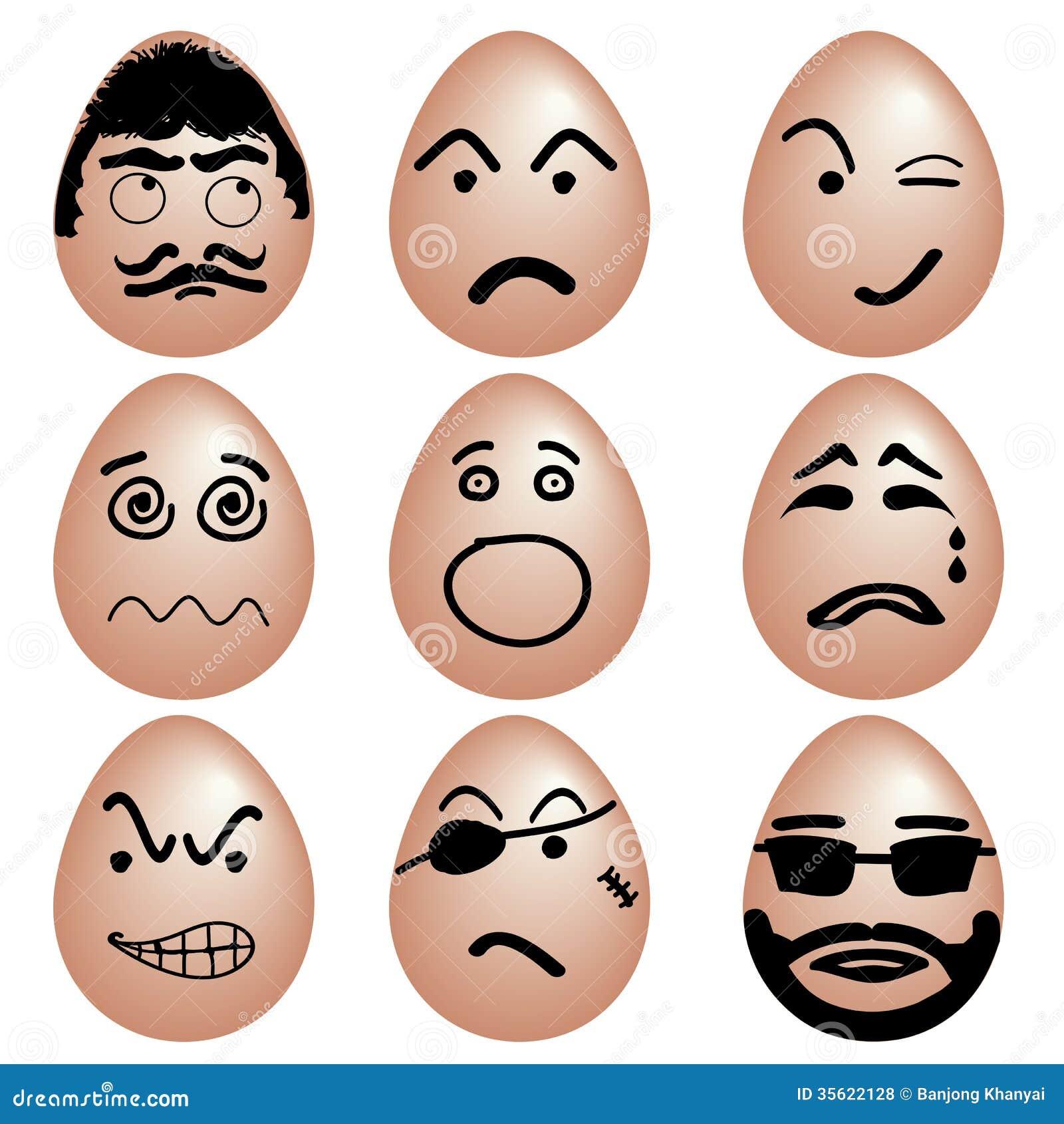 象套滑稽的鸡蛋,与各种各样的情感面孔的鸡蛋由黑颜色绘画,传染媒介.图片