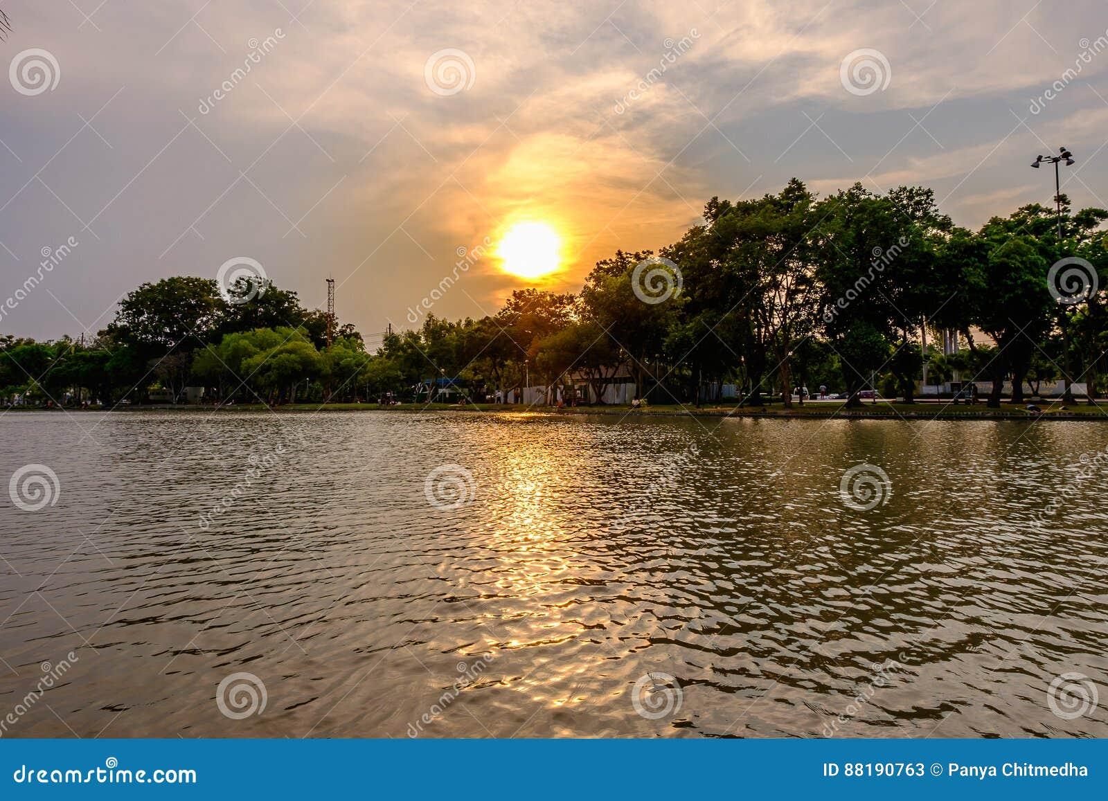 惊人充满活力在Jatujak公园的日落期间