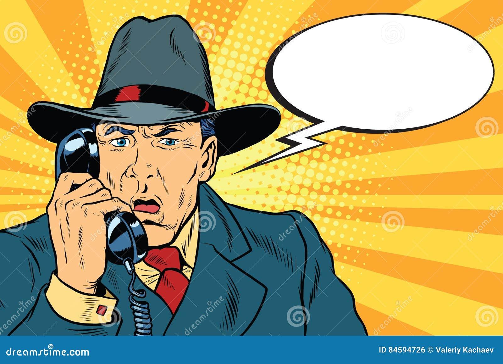 惊奇的减速火箭的商人谈话在电话