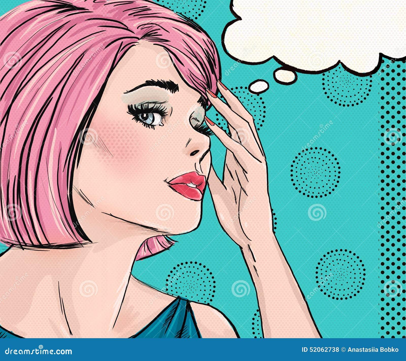 惊奇的妇女的流行艺术例证有讲话泡影的 流行艺术女孩 漫画书例证 流行艺术妇女