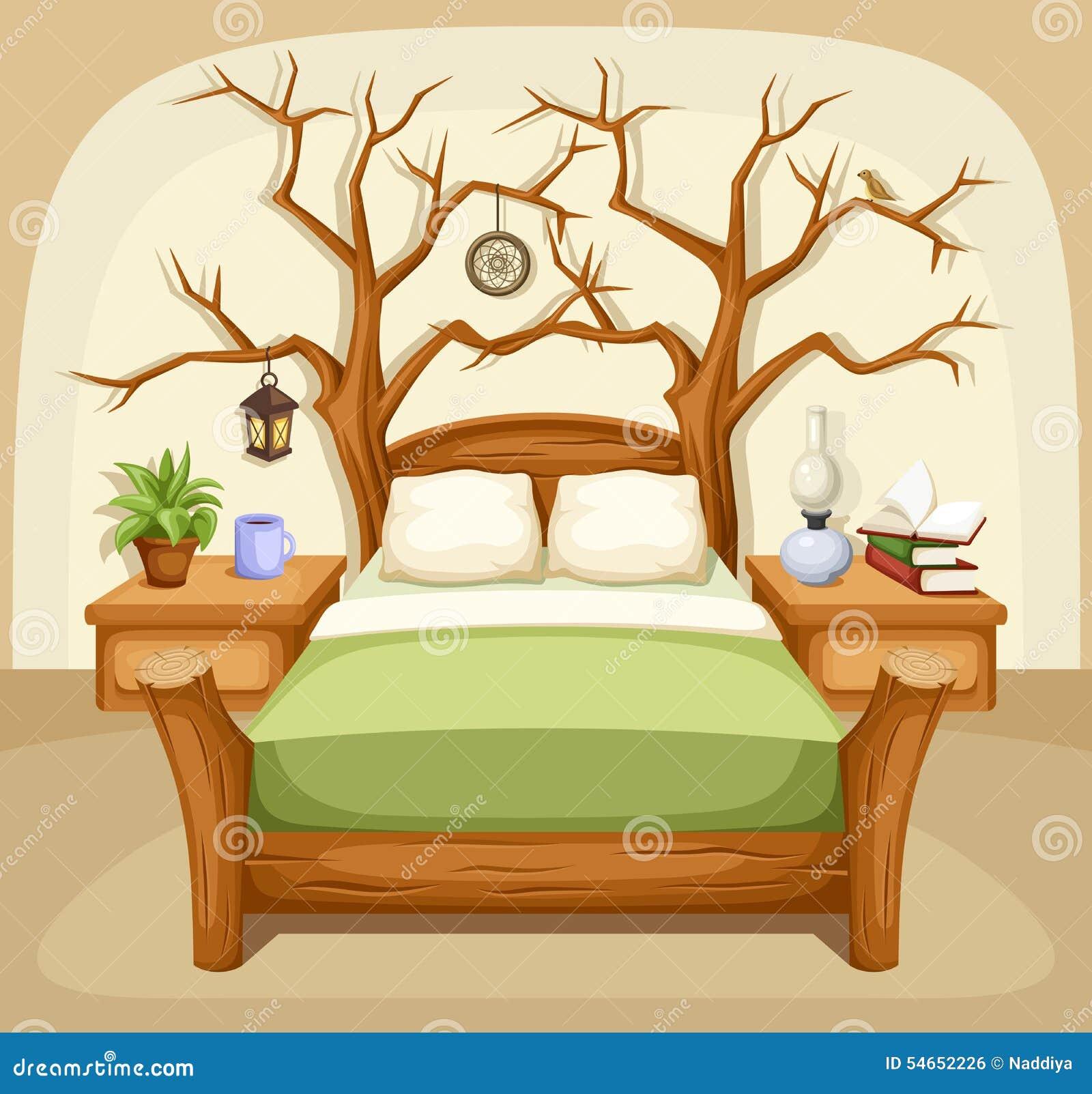 幻想卧室内部 也corel凹道例证向量