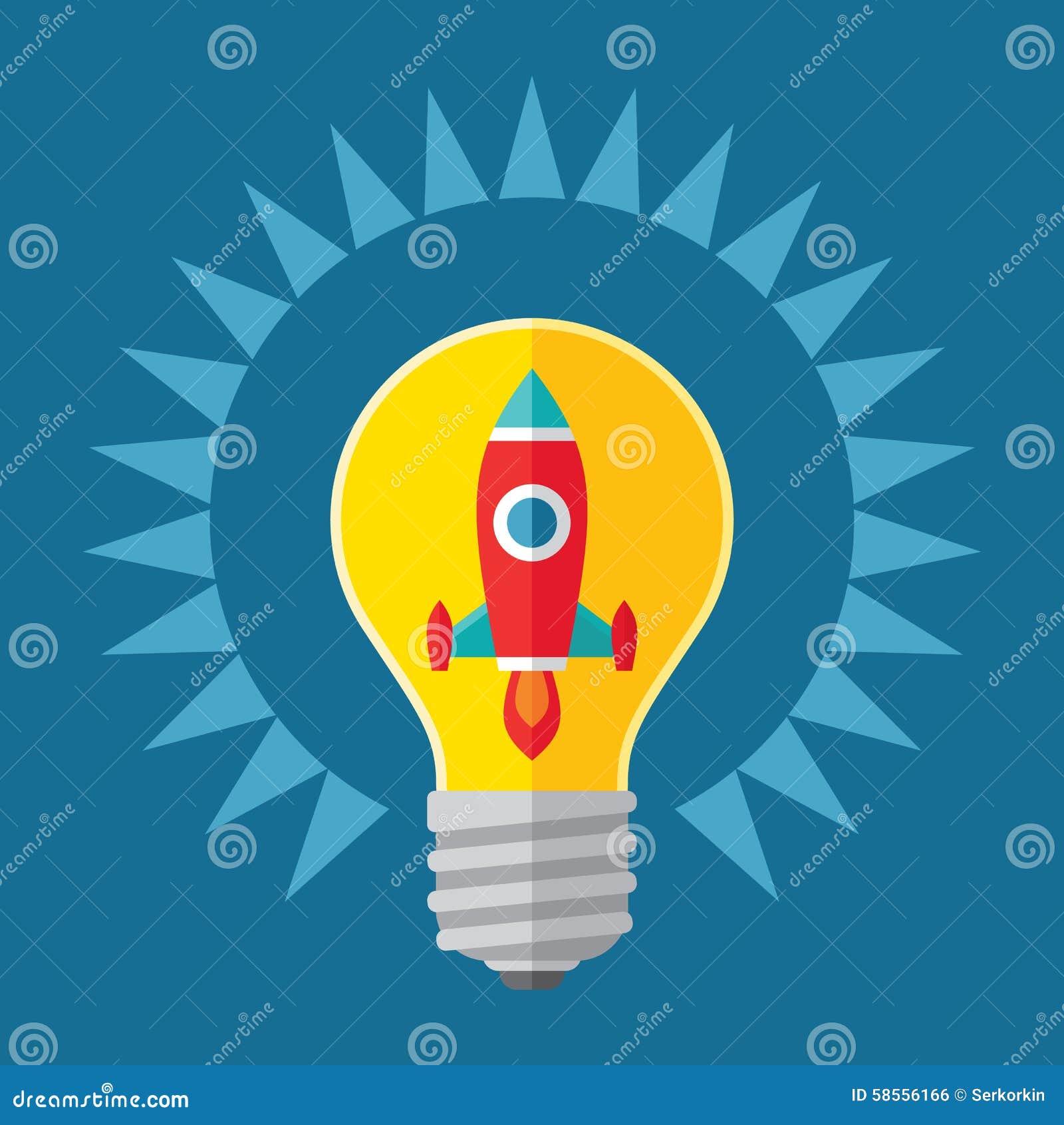 想法和起动概念例证 在电灯泡-在平的样式设计的创造性的例证的火箭队
